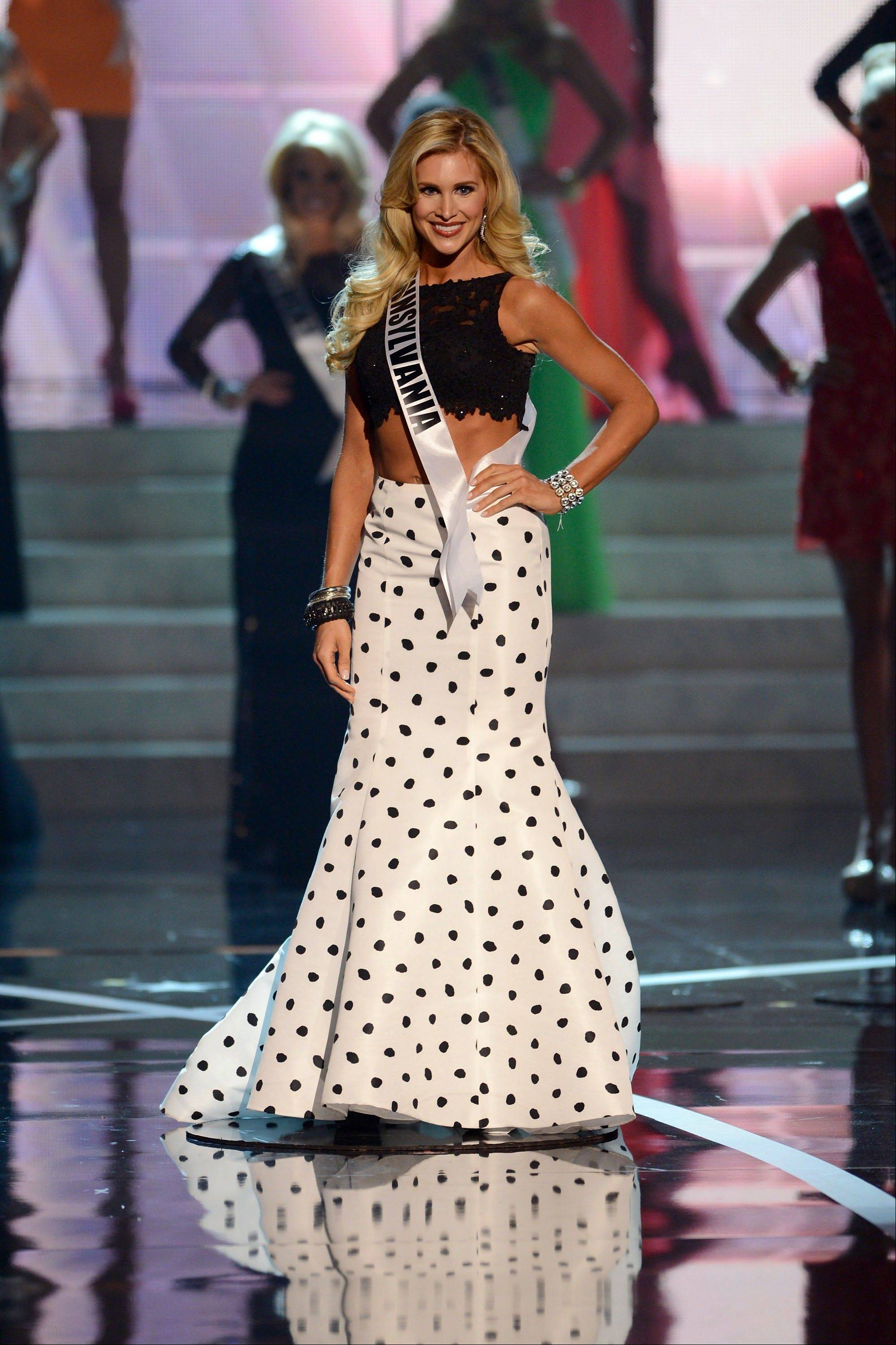 Miss Pennsylvania Jessica Billings from Berwyn walks the runway during the introductions of the Miss USA 2013 pageant, Sunday, June 16, 2013, in Las Vegas.