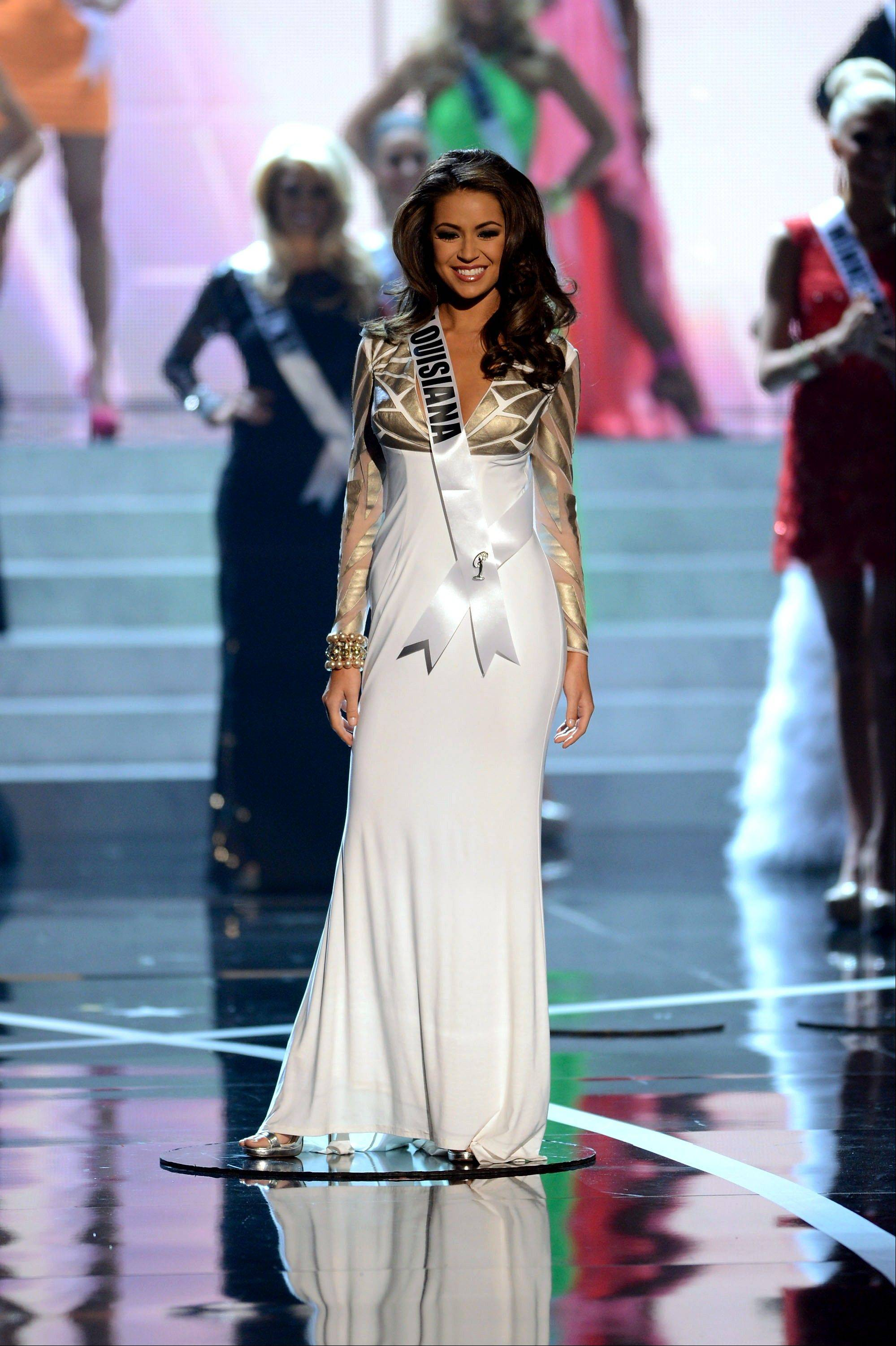 Miss Louisiana Kristen Girault from Metairie walks the runway during the introductions of the Miss USA 2013 pageant, Sunday, June 16, 2013, in Las Vegas.