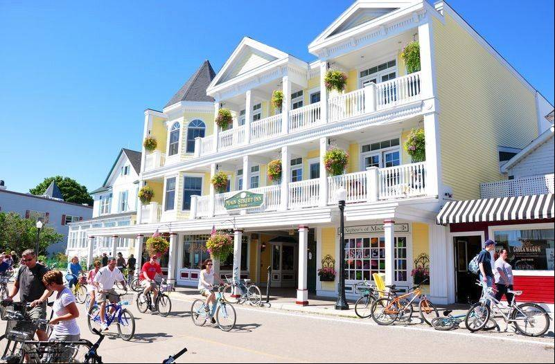 Guided horse-drawn carriage tours start from Main Street and are a great way to see the sights on Mackinac Island.