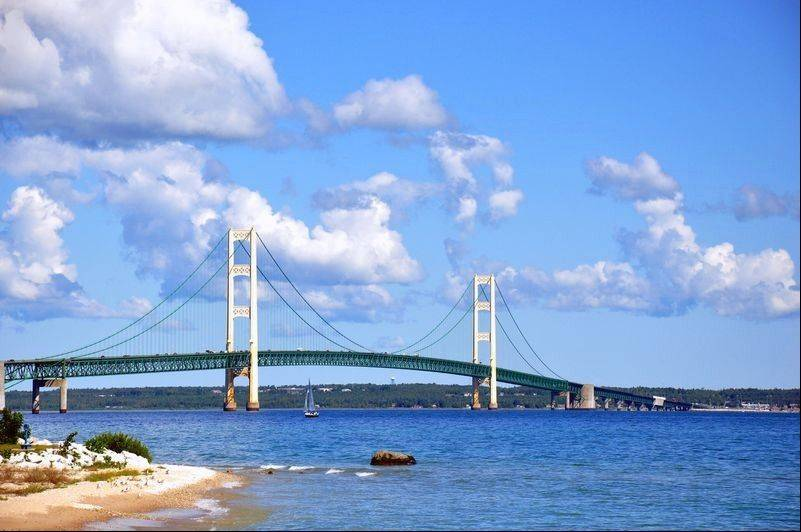 Mackinac Bridge, connecting Michigan's Upper Peninsula with Lower Michigan, opened in 1957.
