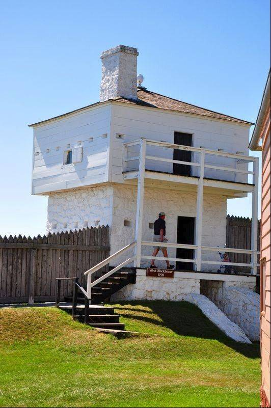Blockhouses are among the 14 historic buildings visitors can explore at Fort Mackinac.