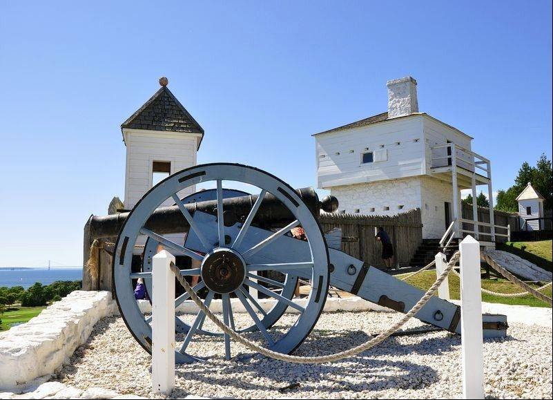 Cannons at Fort Mackinac overlook Lake Huron and are periodically fired for visitors' enjoyment.