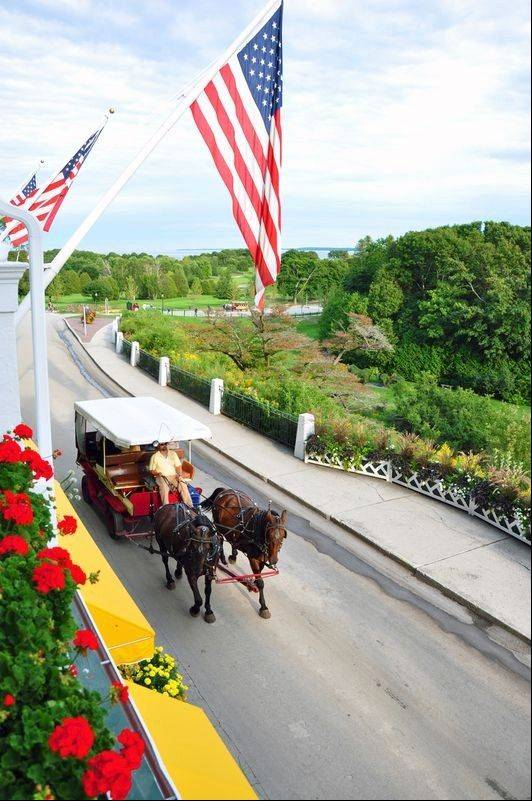 Horse-drawn carriages are a chief means of transportation on Mackinac Island.