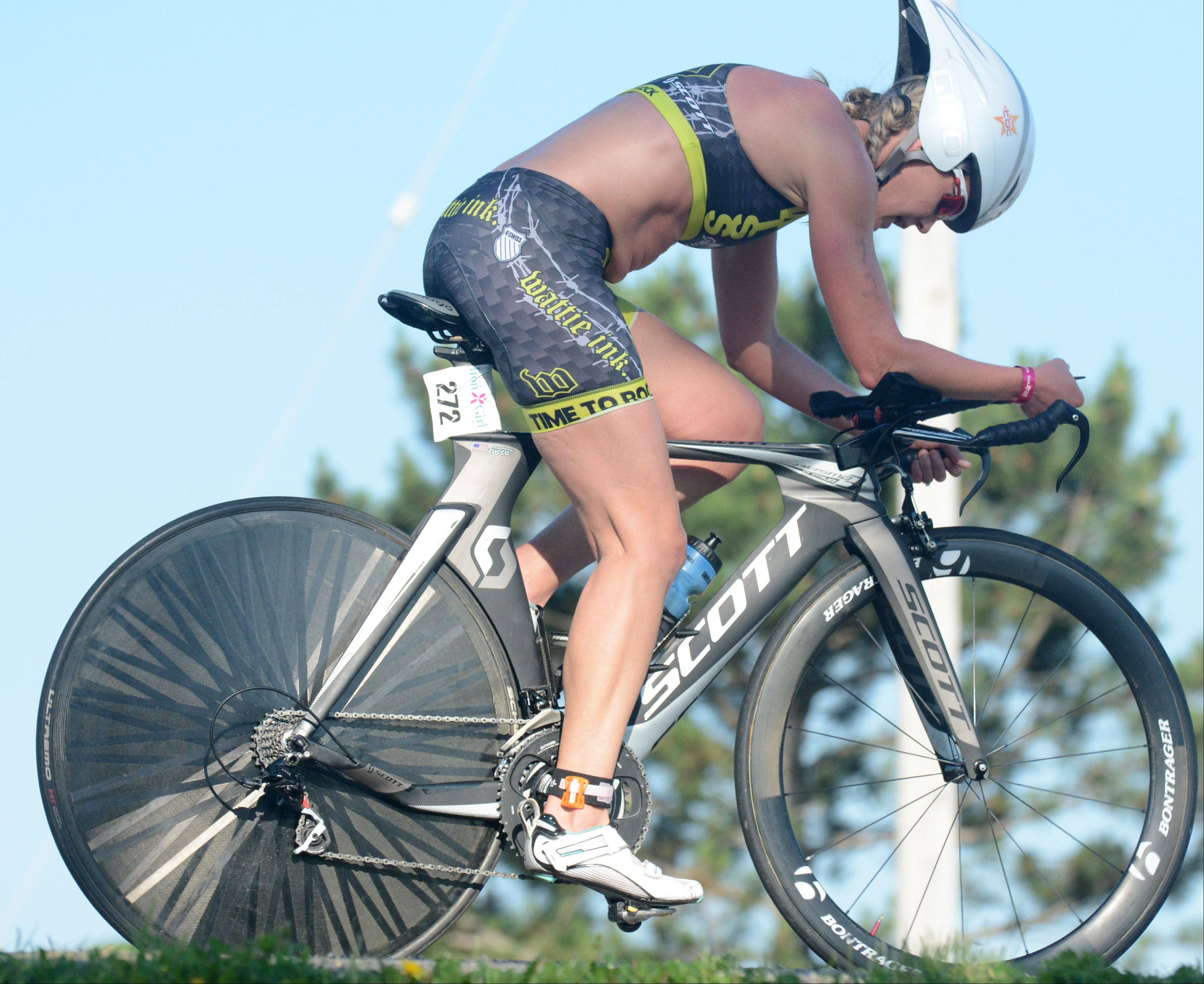 Lindsay Zucco, of Elburn, competes in the Athleta Iron Girl Triathlon in Lake Zurich Sunday.