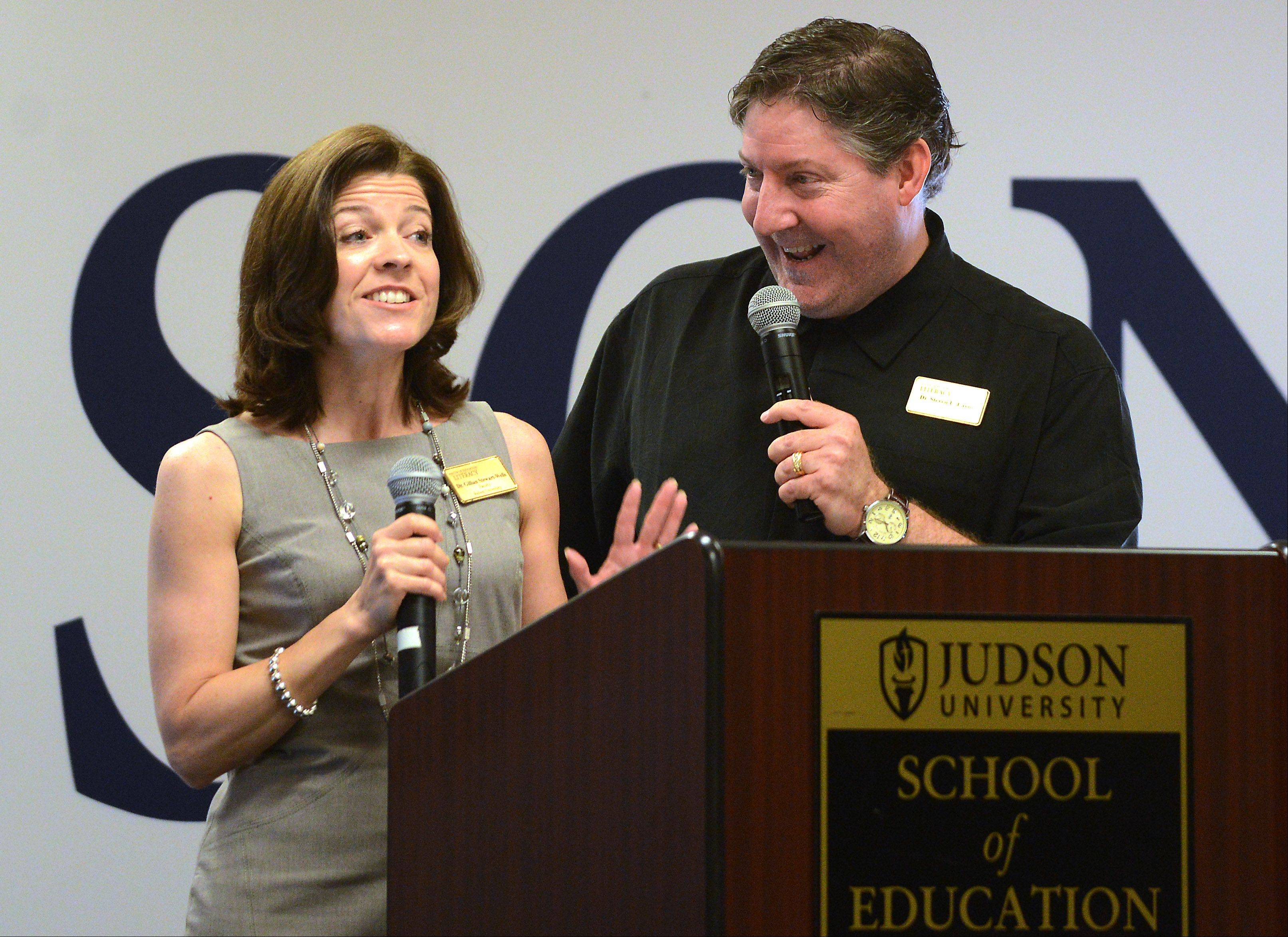 Gillian Stewart-Wells and Steven Layne announced Monday that Judson University will offer its first Ph.D program, a doctorate of education in literacy.