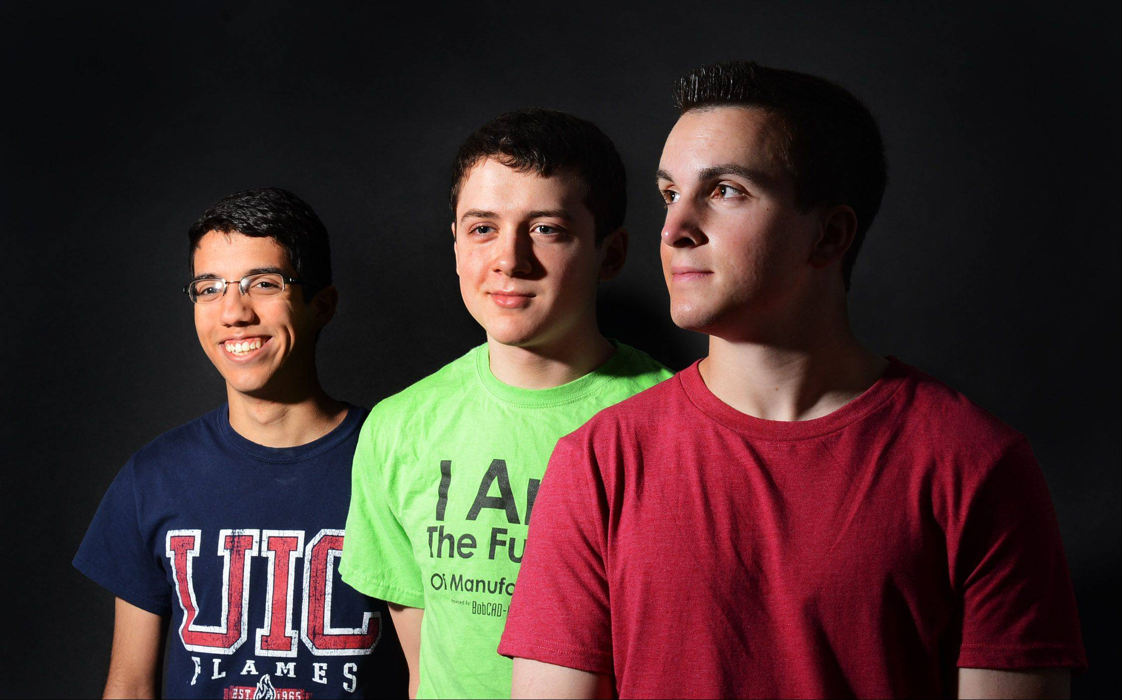 From left, Beny Romo, 17, of South Elgin, Jonathan Kuruc, 18, of Bartlett, and Justin Markel, 18, of South Elgin developed a first-of-its-kind prosthetic leg for a regional competition. The recent grads from South Elgin High School now hope to patent the leg and start their own business to market it before heading off to college.