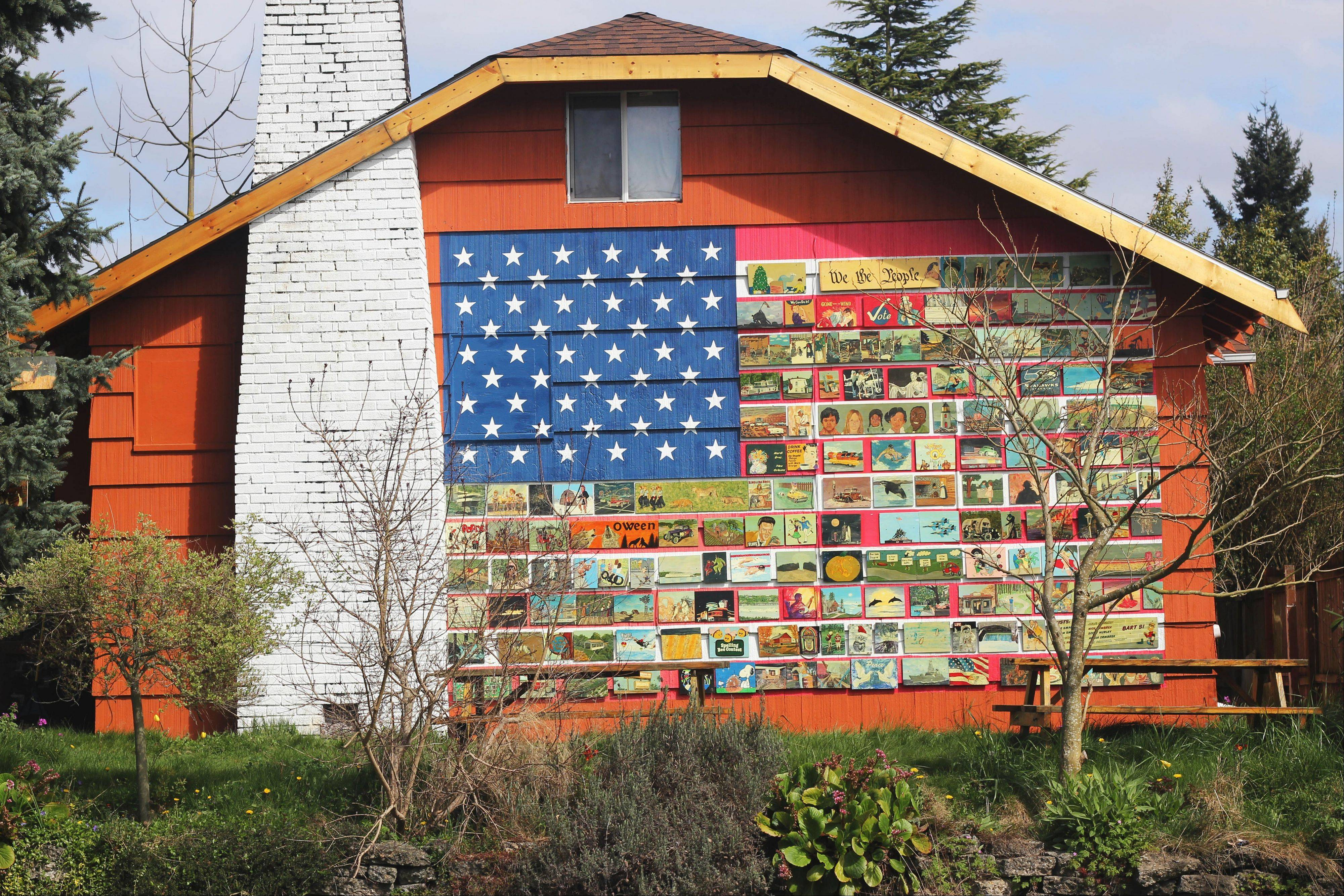 Richard Ormbrek's house in Seattle is decorated with a 20-foot-wide American flag made up of 180 individually painted tiles.