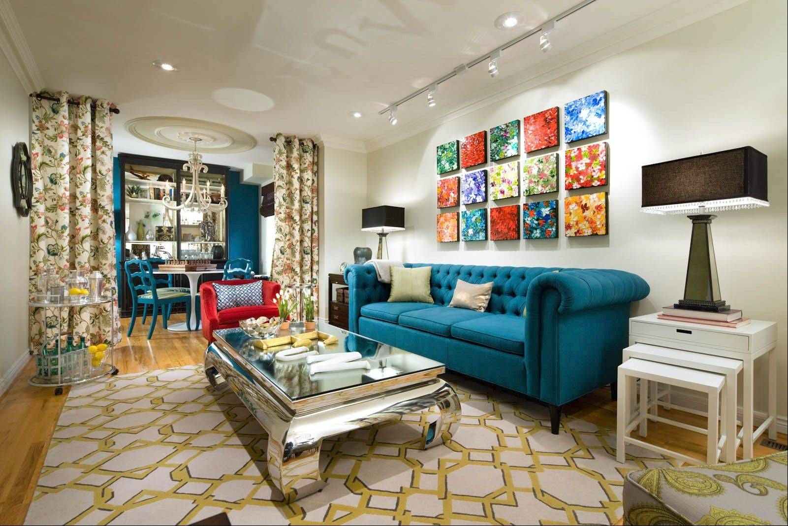 This party parlor blends bold colors and bright artwork.
