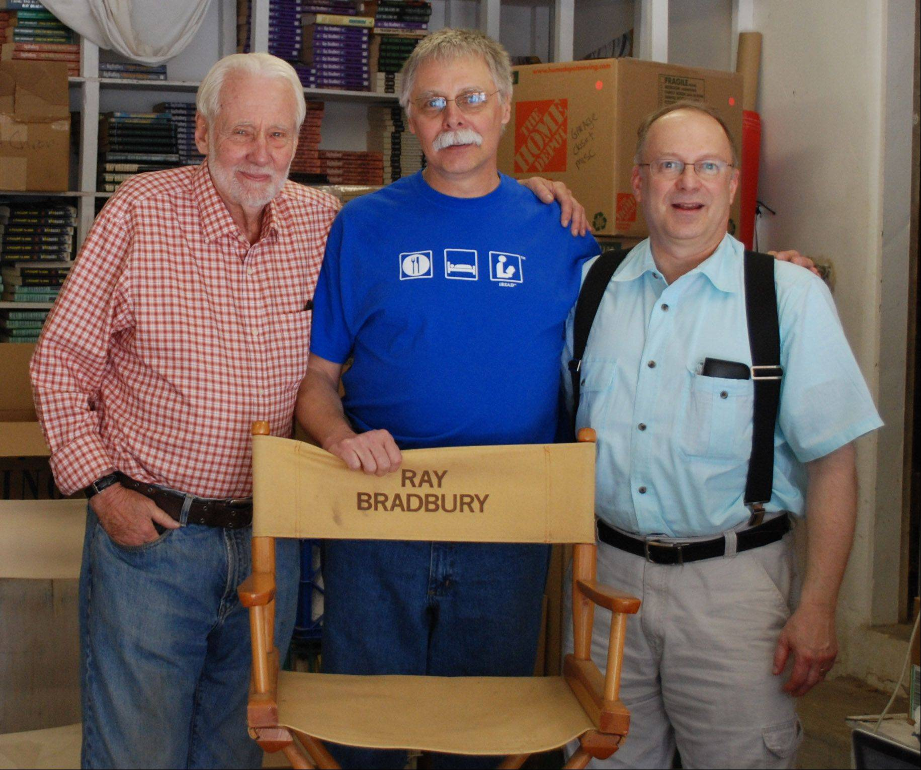 From left: Donn Albright, biographer and illustrator for Ray Bradbury; Richard Lee; and Jonathan R. Eller, director of the Center for Ray Bradbury Studies at Indiana University.
