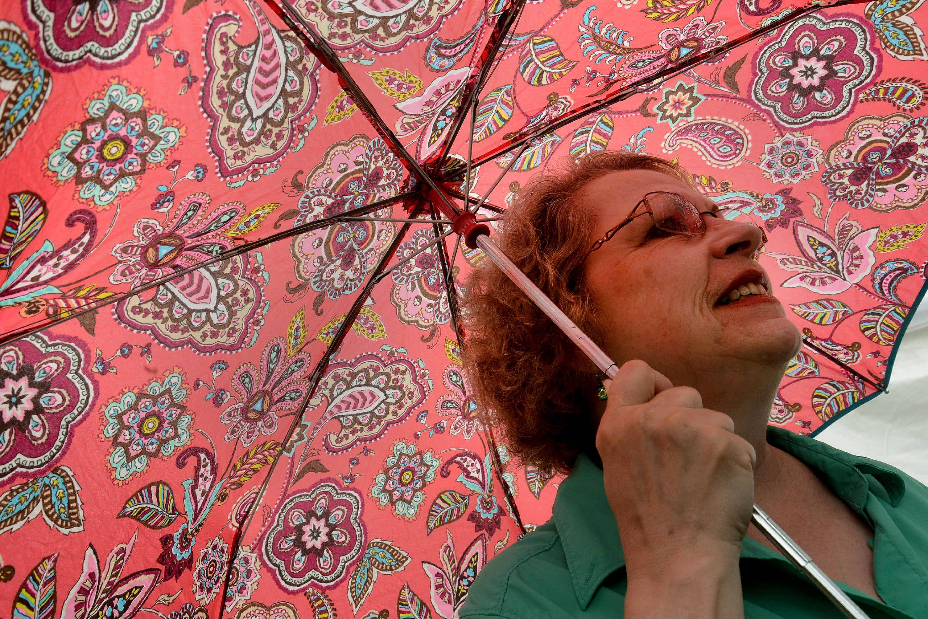 Joyce Mule of Grayslake sports a colorful umbrella to ward off the rain during the Grayslake Arts Festival.
