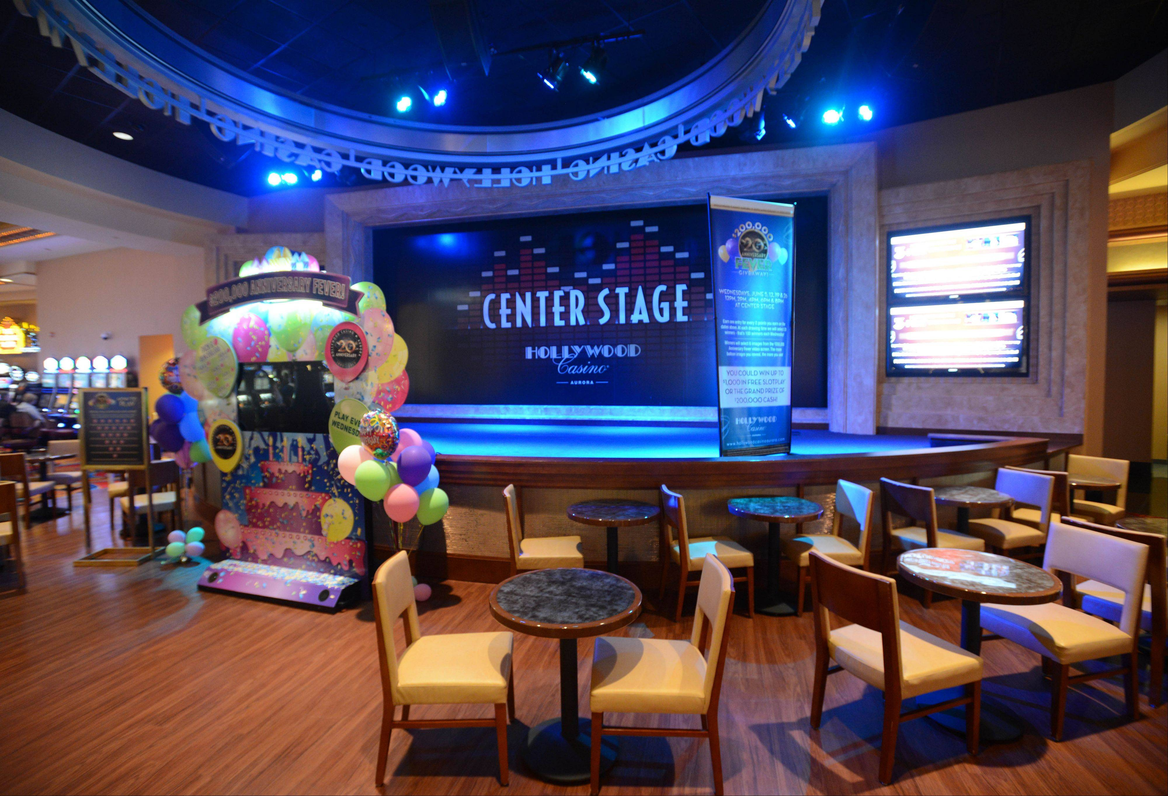 Center Stage at Hollywood Casino Aurora opened in July 2012, and General Manager Himbert Sinopoli said the performance spot adds bands and entertainment to the experience the casino offers. Hollywood Casino is celebrating its 20th anniversary this month after opening June 17, 1993.