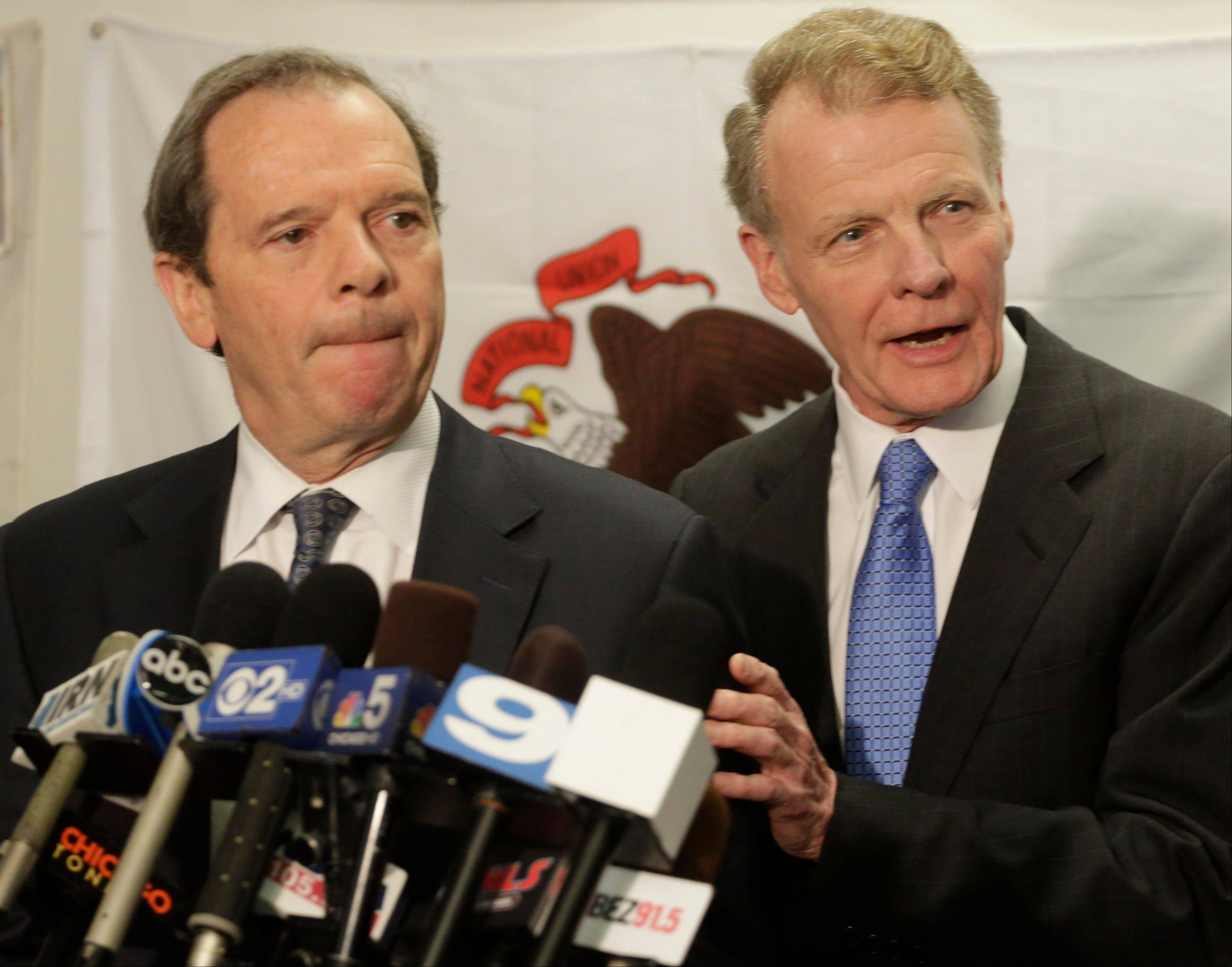 State Senate President John Cullerton, left, and House Speaker Michael Madigan talk with reporters after a meeting with Gov. Pat Quinn on June 10 to discuss the state's pension crisis.