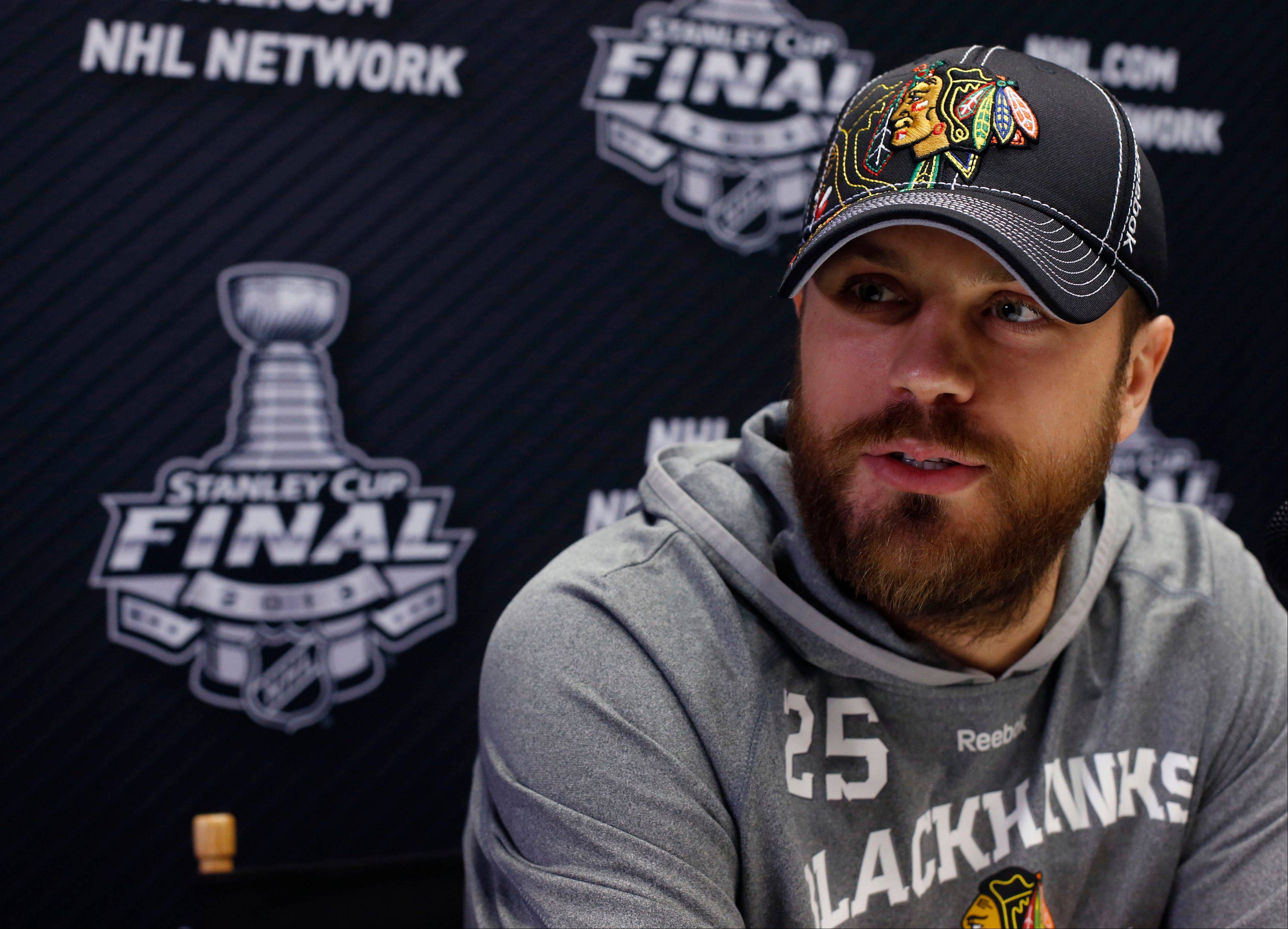 Blackhawks forward Viktor Stalberg was back in the lineup Monday night after sitting out the first two games of the Stanley Cup Final.
