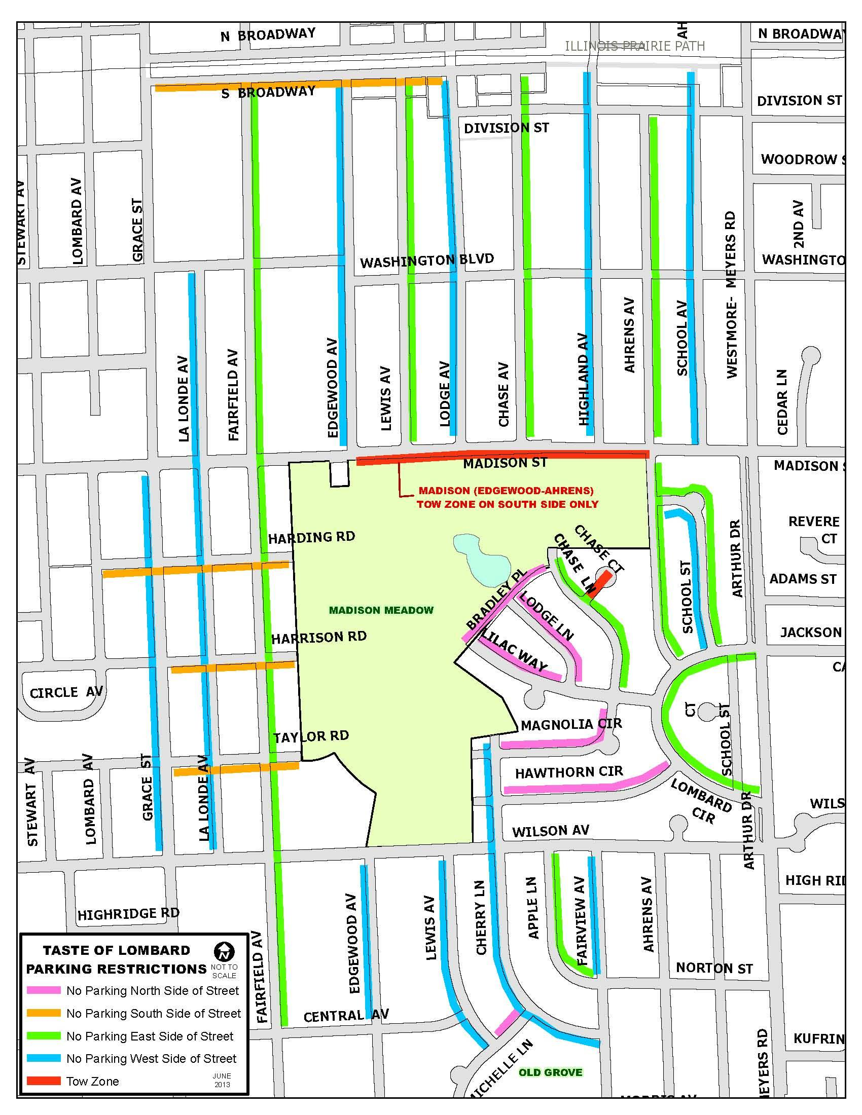 Map of parking restrictions during Taste of Lombard 2013.