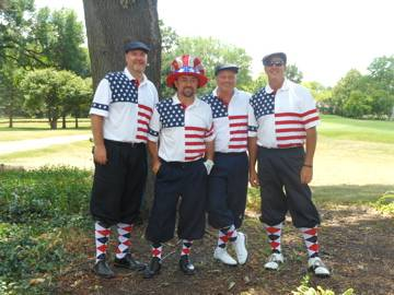Tradition continued at the annual Mt. Prospect Golf Classic as ChemGrout's foursome wore their patriotic golf outfits to last year's outing. Shown in picture are Rob Galbavy, Ed Lindfors, Mike Milliken, and Joel Wipf. Watch out for these guys on Friday!