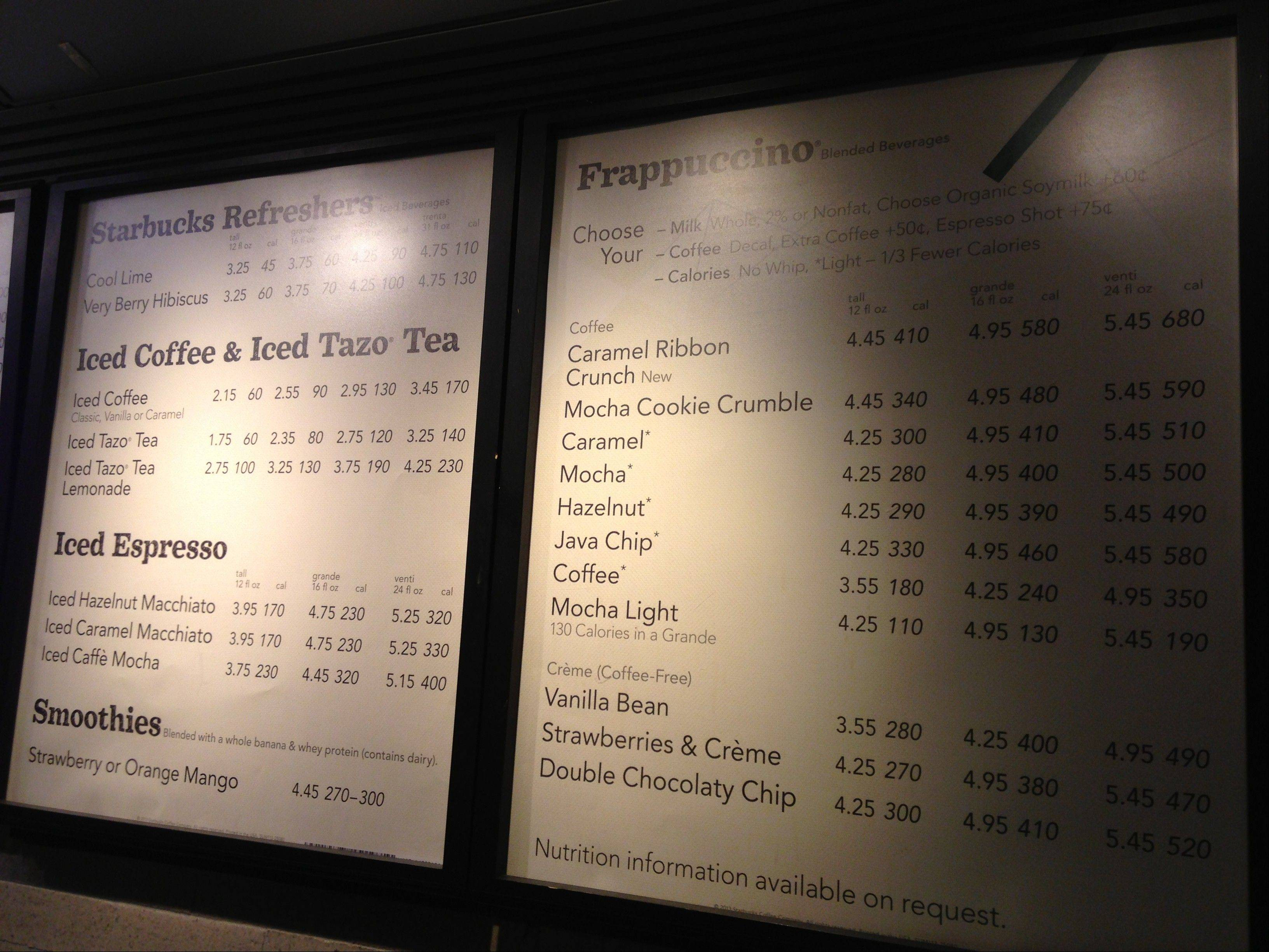A menu board showing calorie counts hangs at a Starbucks in New York. The Seattle-based coffee chain says it will start posting calorie counts on menu boards nationwide next week, ahead of a federal regulation that would require it to do so.