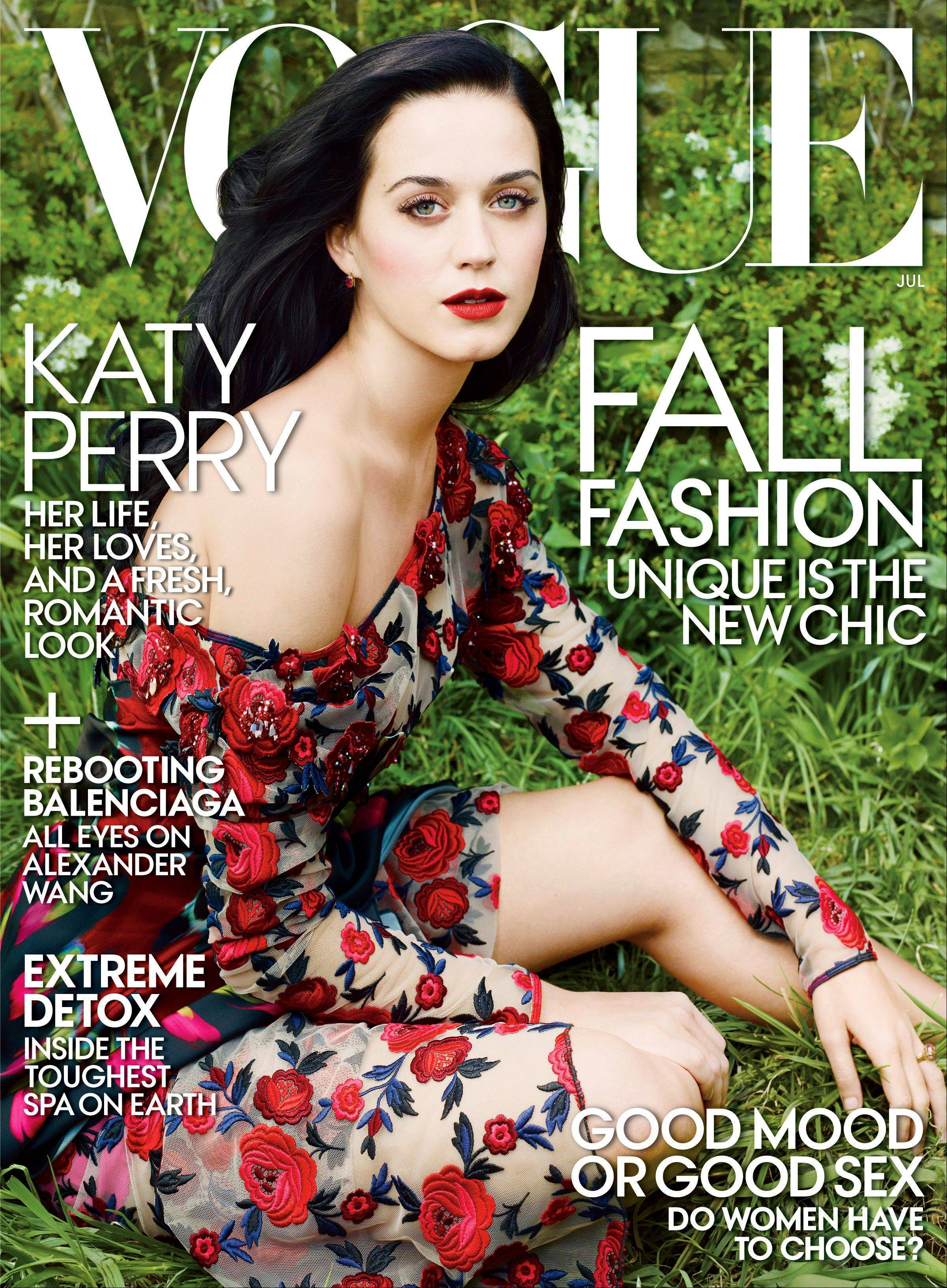 Singer Katy Perry on the July 2013 cover of Vogue magazine.