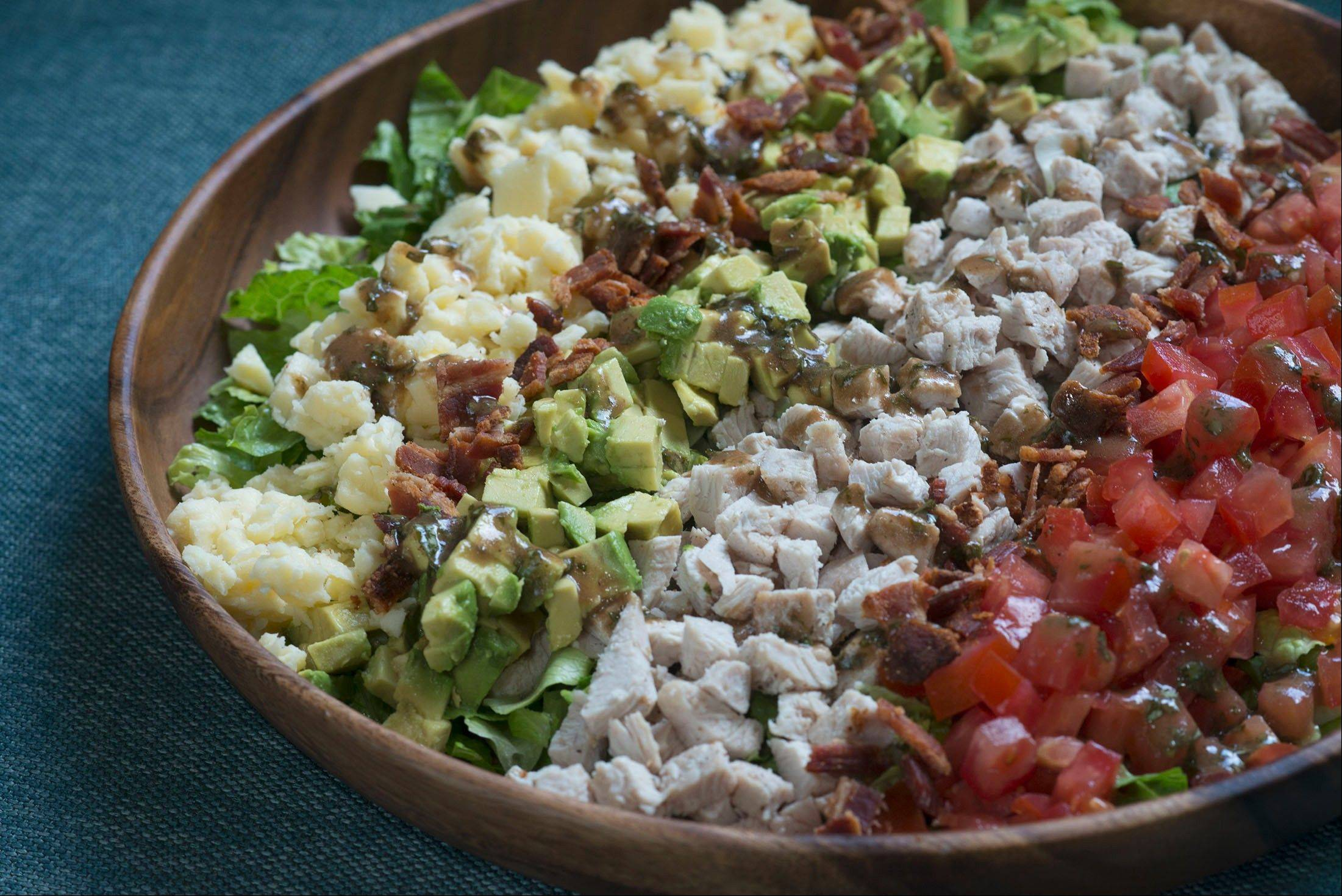 Chopped Turkey Club Salad with Basil Balsamic Dressing