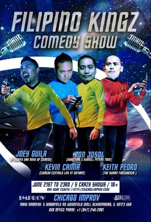 Joey Guila, Kevin Camia, Ron Josol and Keith Pedro perform as part of Filipino Kingz of Comedy at the Improv Comedy Showcase in Schaumburg.