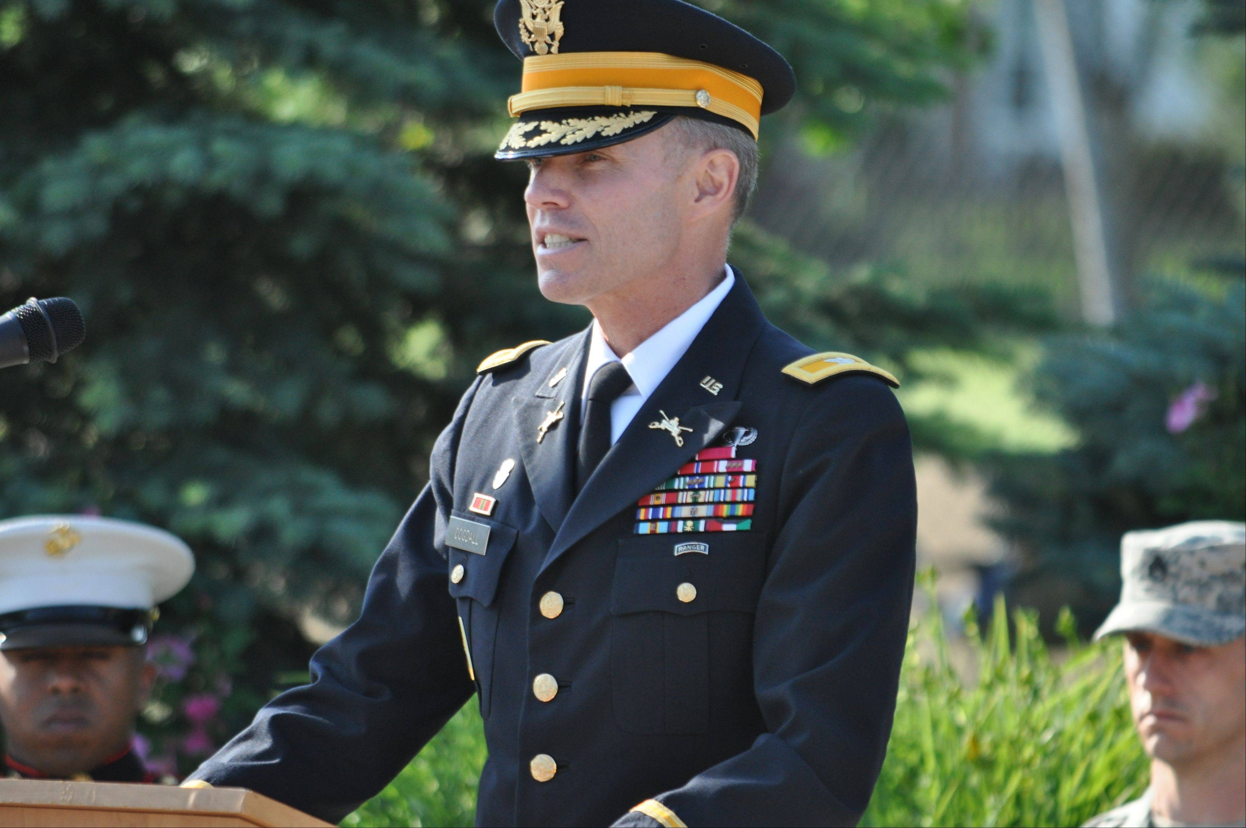 Col. Tom Cogdall of the United States Army was the guest speaker Friday at Flag Day ceremonies held at Veterans Park, 1300 N. Weiland Road, Buffalo Grove. More than 100 people attended.
