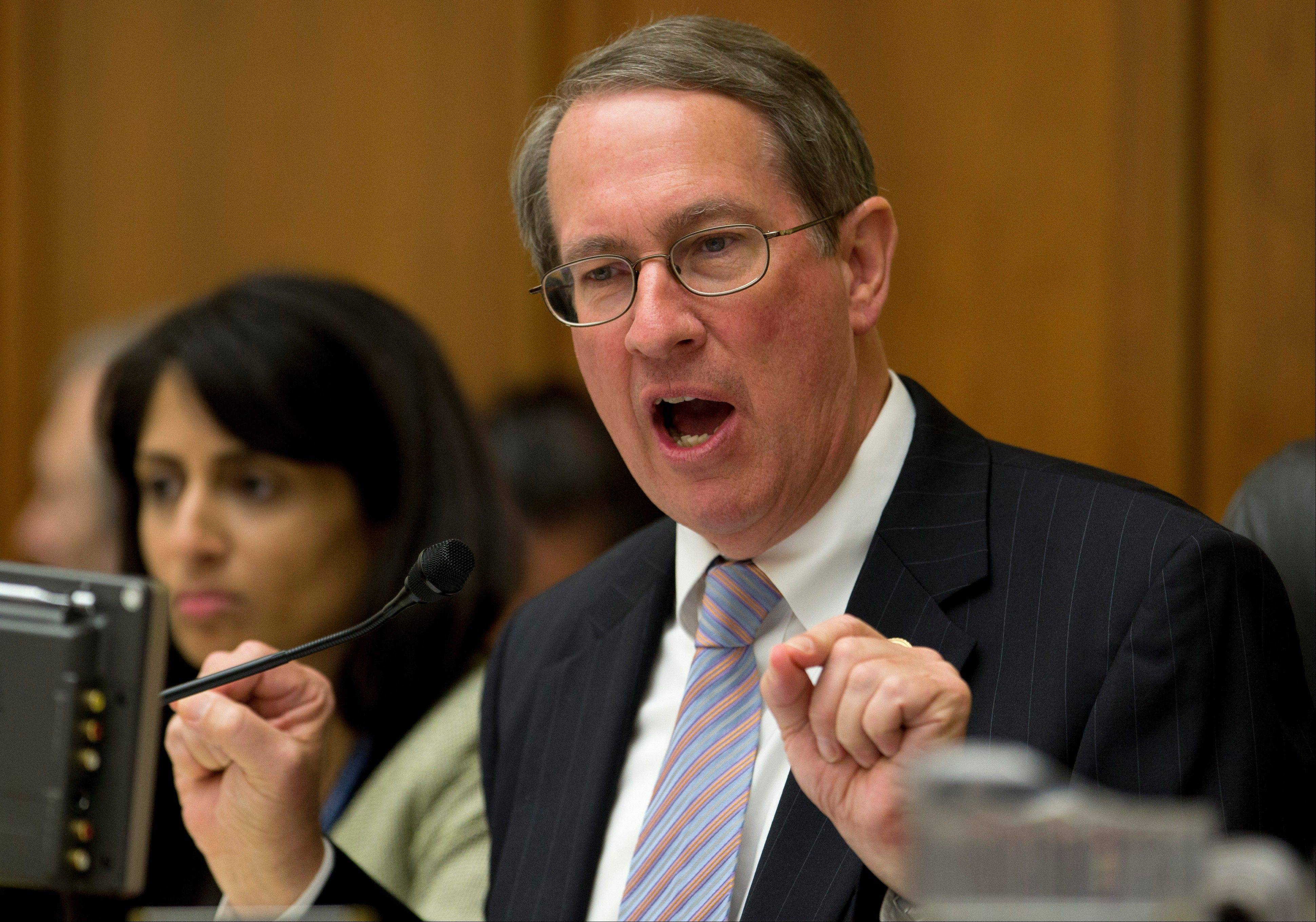 House Judiciary Committee Chairman Rep. Bob Goodlatte, R-Va., gestures as he speaks on Capitol Hill in Washington, Tuesday, June 18, 2013, during the committee's hearing to discuss the Strengthen and Fortify Enforcement Act. The committee in the Republican-led House is preparing to cast its first votes on immigration this year, on a tough enforcement-focused measure that Democrats and immigrant groups are protesting loudly.