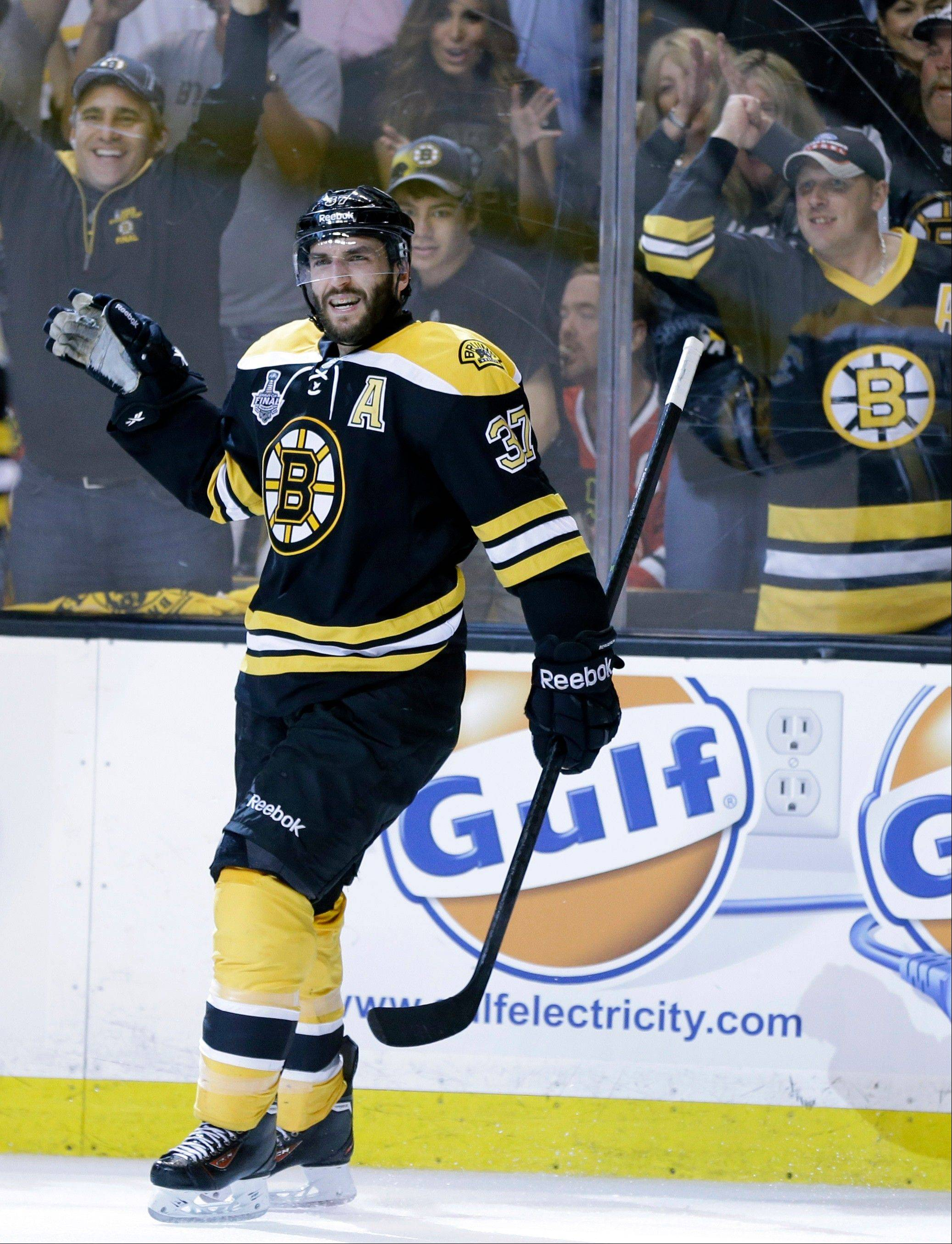 Boston Bruins center Patrice Bergeron not only scored a goal against the Blackhawks in Game 3, he also won 24 of 28 faceoffs.