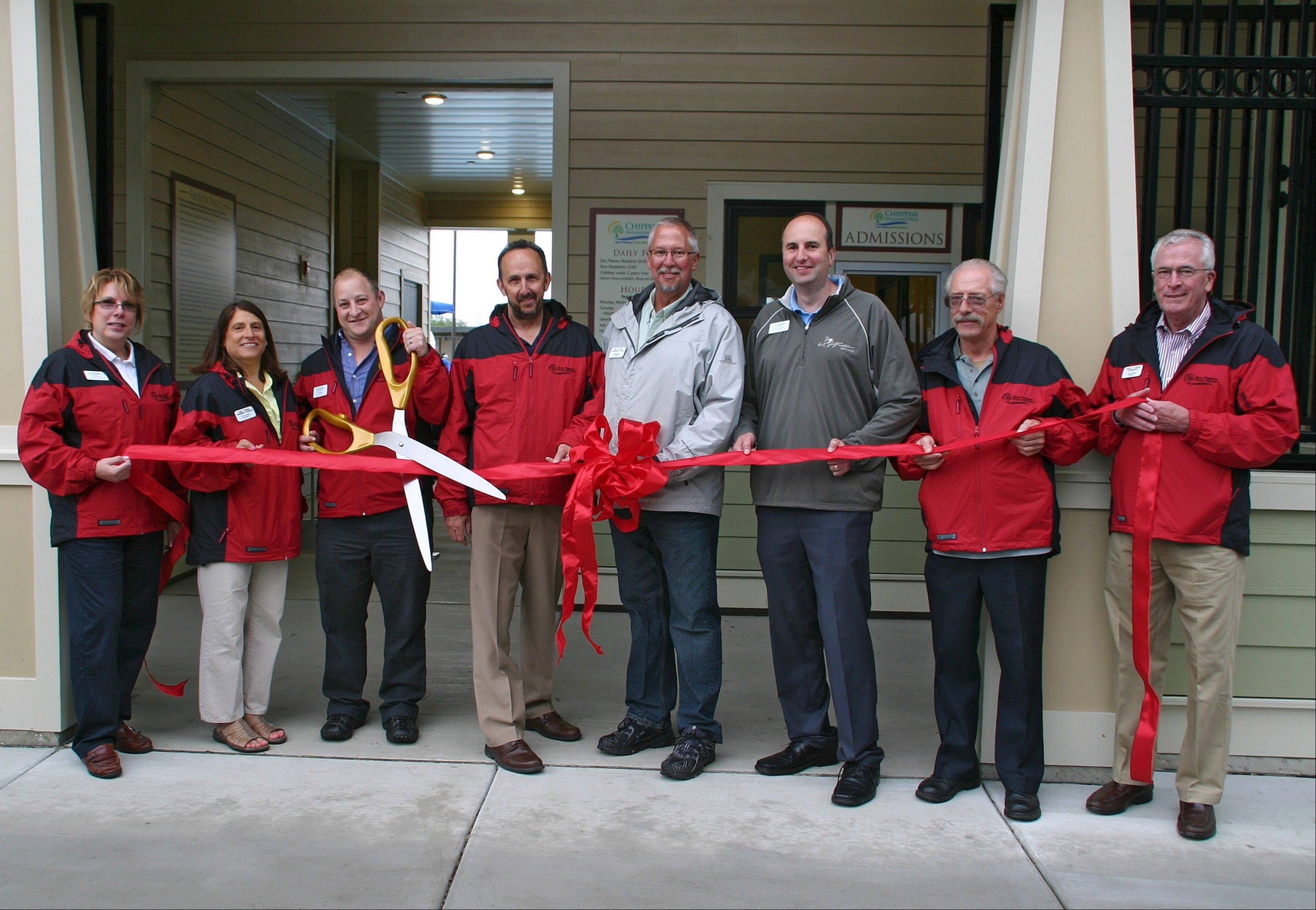 Pictured at the grand opening of Chippewa Pool, from left, are: Park Board Commissioner Jana Haas; Superintendent of Recreation Linda Traina; Park Board President Joe Weber; Executive Director John Hecker; Superintendent of Parks and Planning Paul Cathey; Superintendent of Business and Golf Operations Don Miletic; Park Board Commissioner William J. Yates; and Park Board Commissioner James F. Grady.