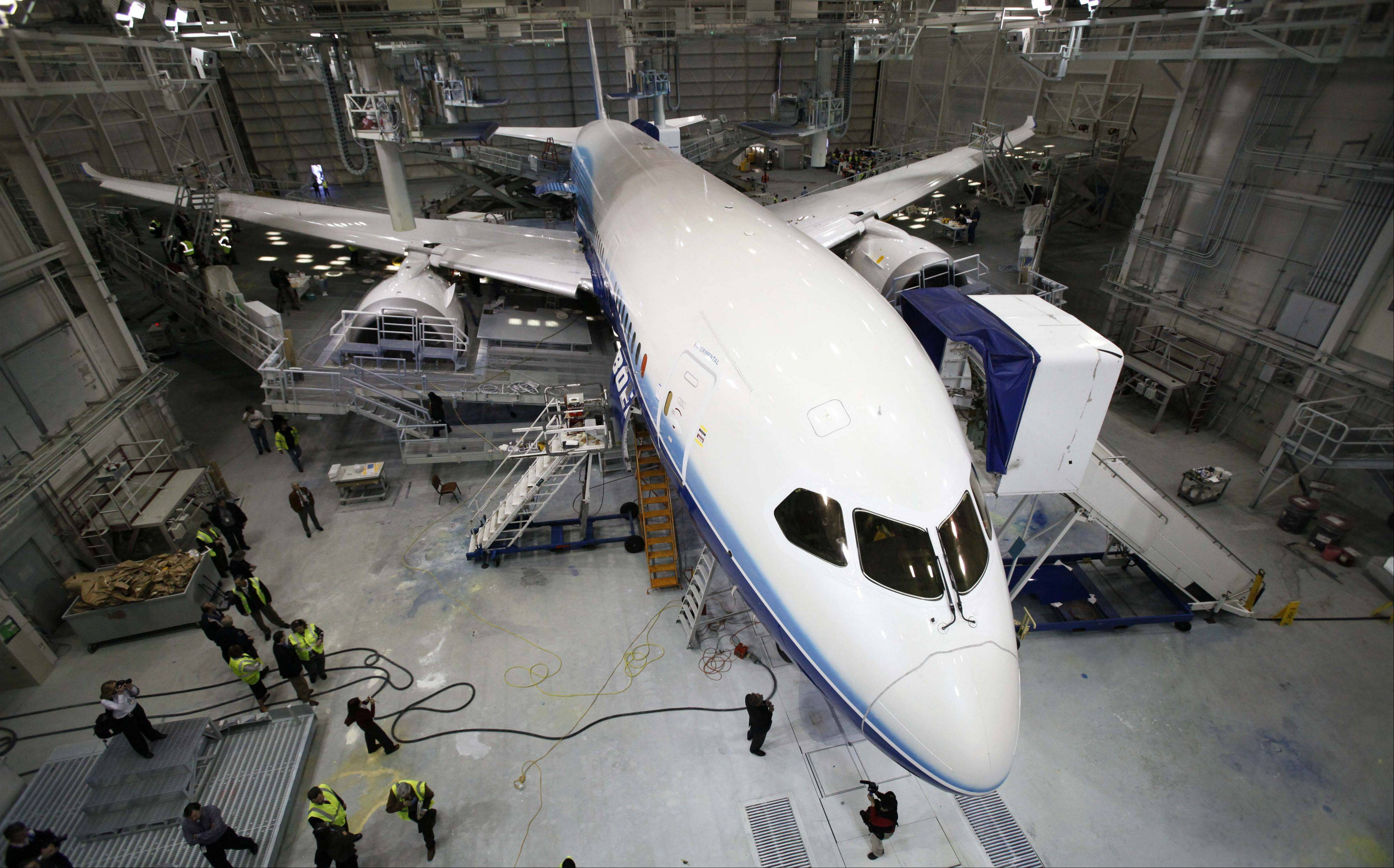 A Boeing 787 sits in a paint hangar at the plant in Everett, Wash. South Carolina's financial oversight board unanimously approved borrowing $120 million for Chicago-based Boeing Co.'s expansion plans in North Charleston.