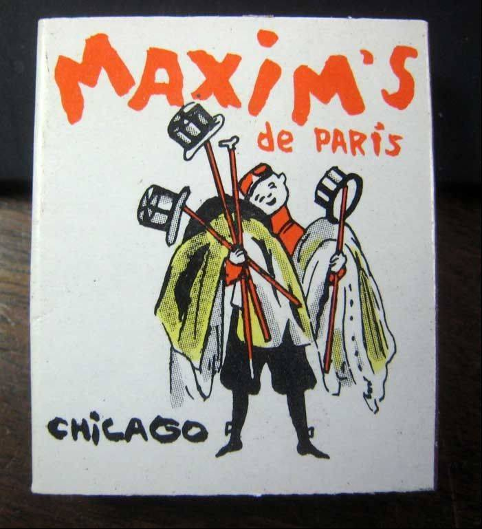 Cover of a book of bamboo matchsticks from Maixim's.