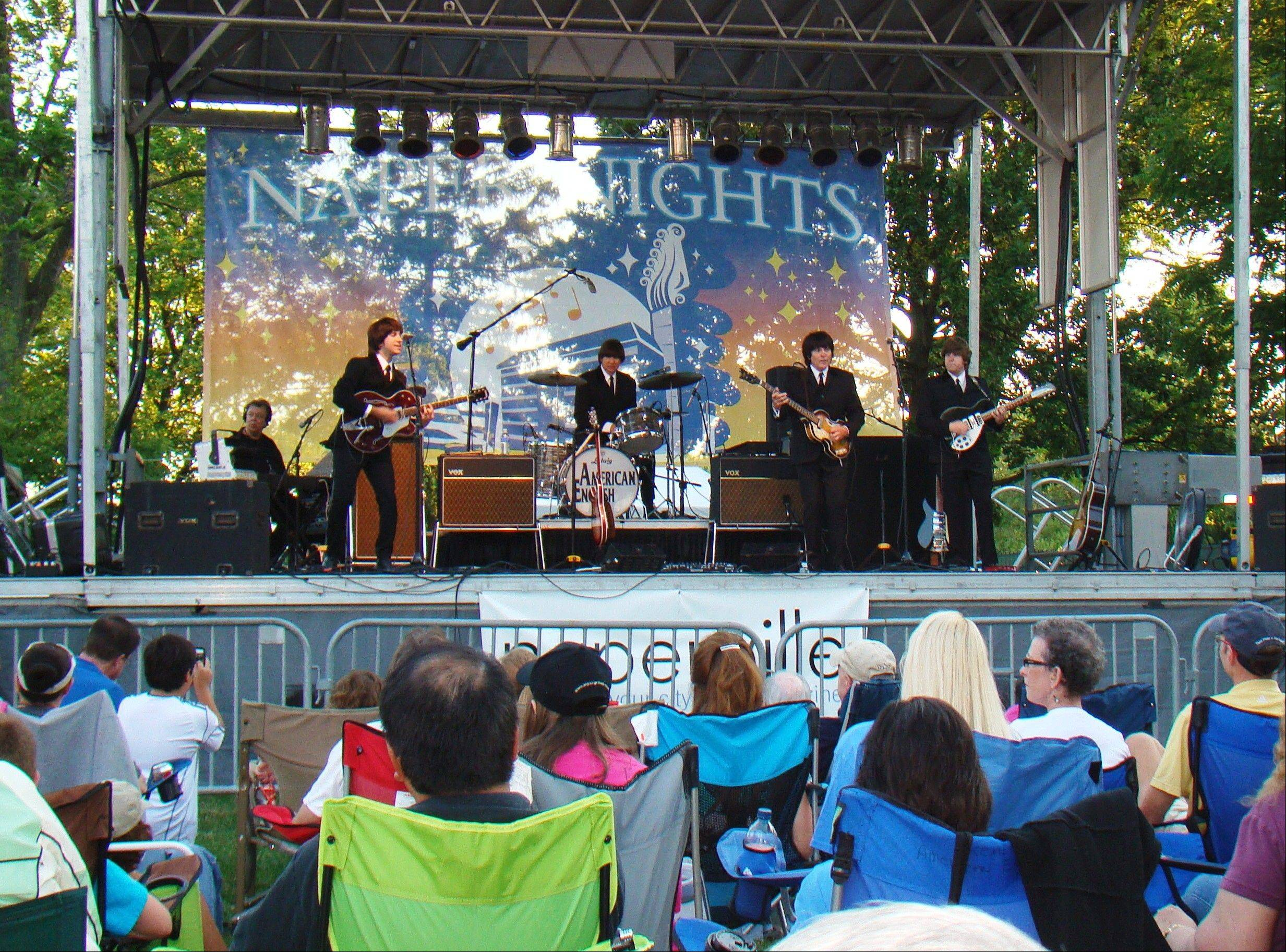 "Beatles tribute band American English will headline the first night of the Naper Nights Community Concert Series on Friday at Naper Settlement. The ""History of Rock"" concert series includes six nights of rock featuring tribute bands organizers say are the best in the Midwest."