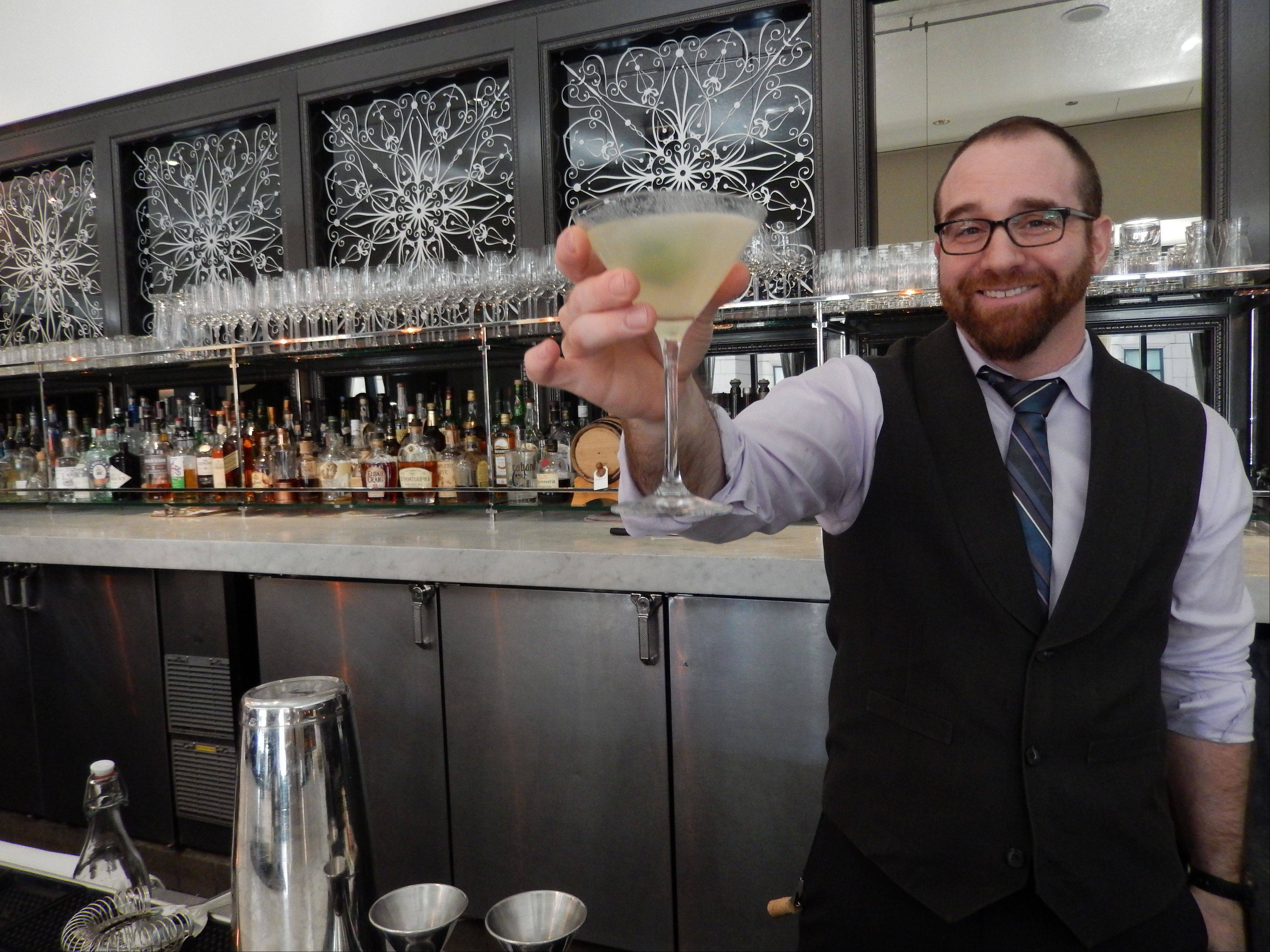Balsan bartender Michael Kennedy serves up a Moscow Thoroughbred, his twist on a Moscow Mule, at the Chicago restaurant.