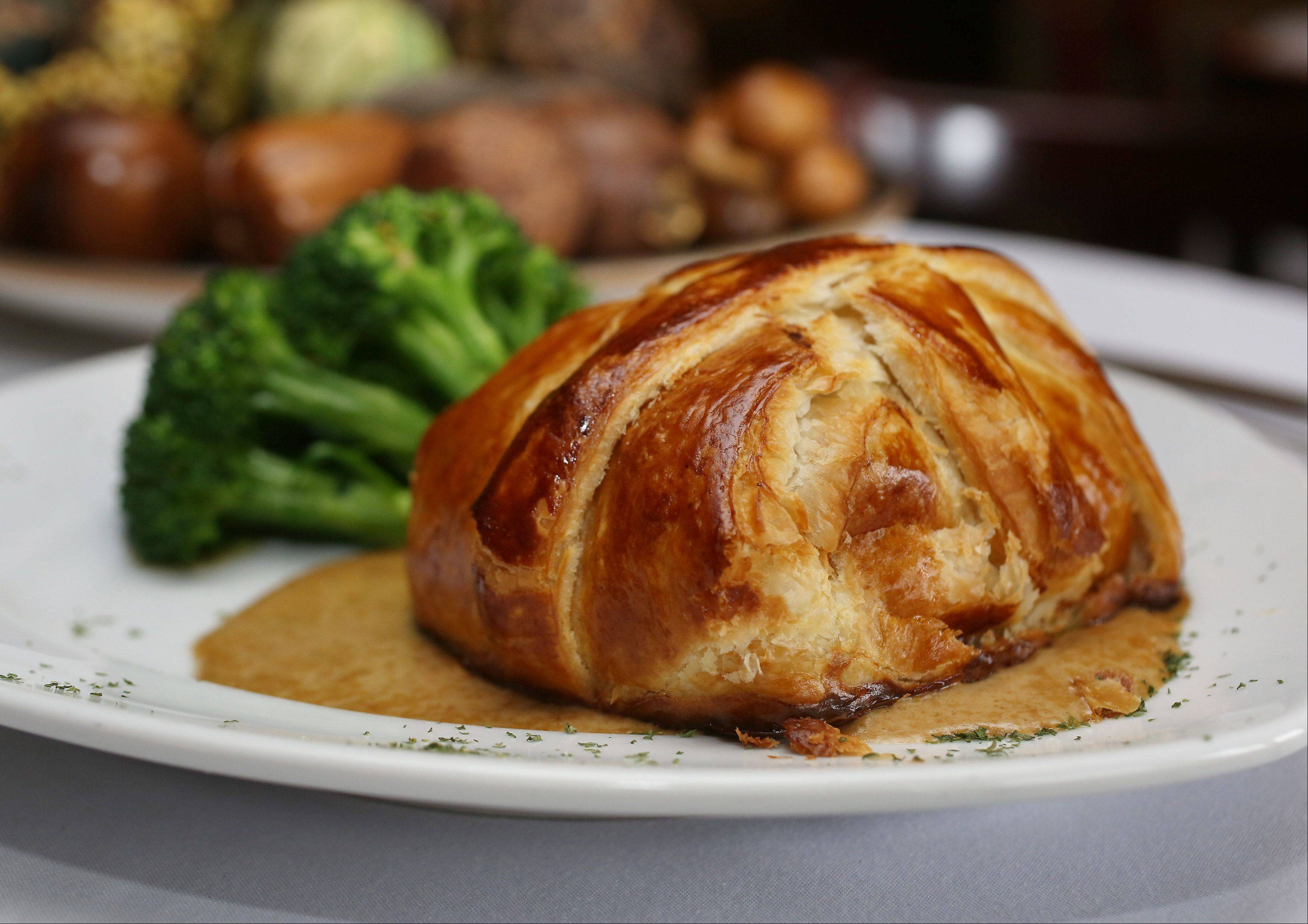 Beef Wellington, with its traditional puff pastry, earns high marks at Stevens' in Gurnee.