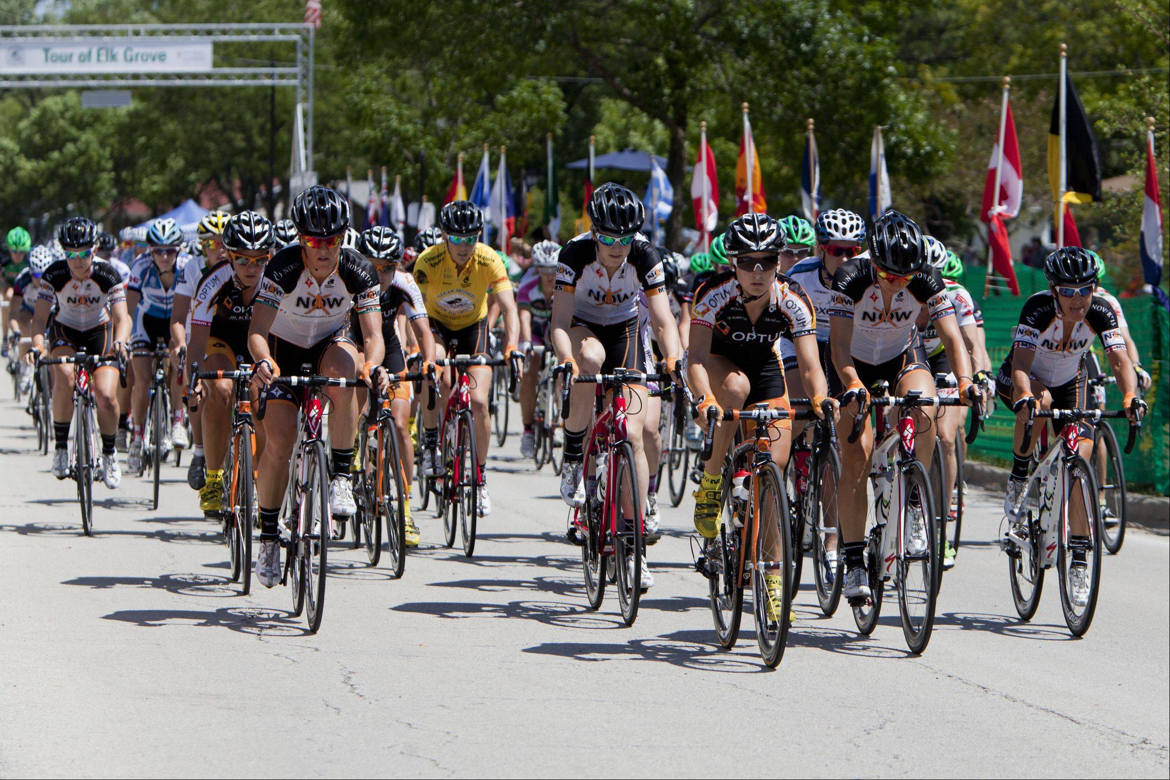 Professional women cyclists start on the third stage of a three-day, three-stage race at the 7th annual Alexian Brothers Tour of Elk Grove.