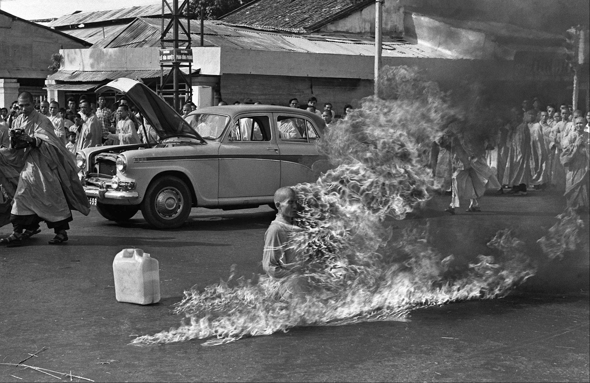Thich Quang Duc, a Buddhist monk, burns himself to death on a Saigon street in 1963 to protest alleged persecution of Buddhists by the South Vietnamese government.