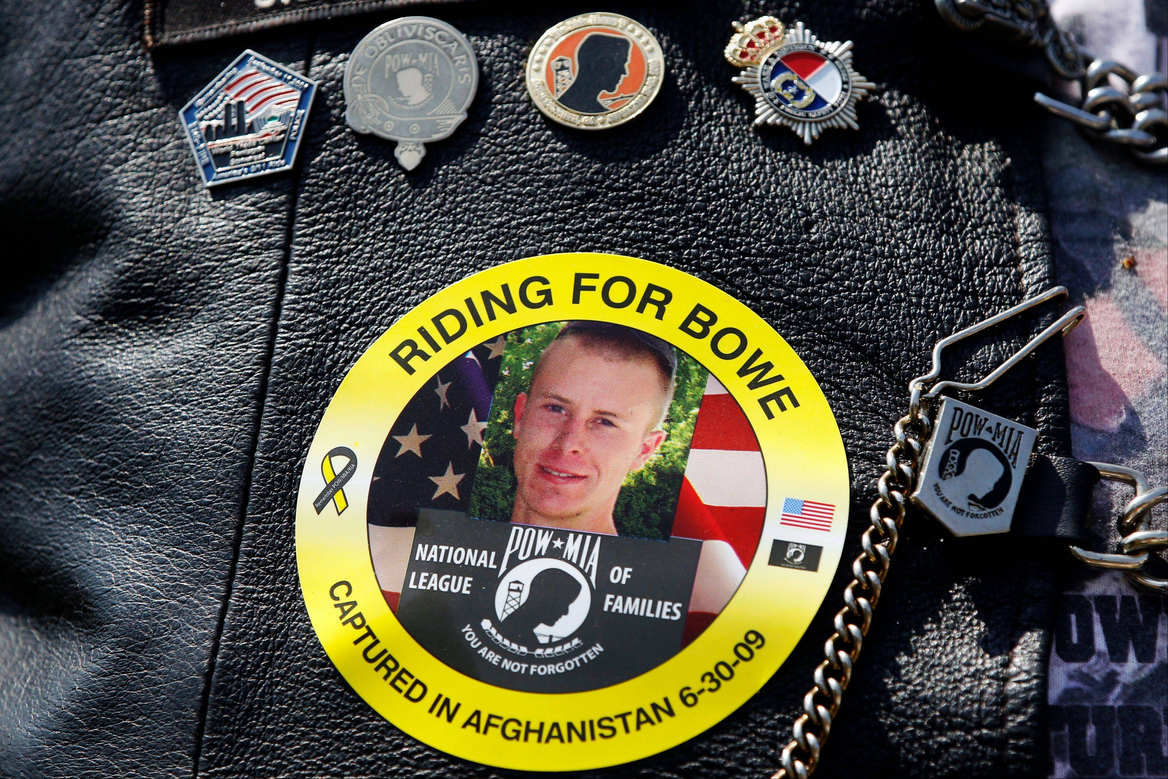 An image of Army Sgt. Bowe Bergdahl of Hailey, Idaho, who is being held captive in Afghanistan, is worn at a rally for POW/MIA awareness. A Taliban spokesman said Thursday they are ready to hand over U.S. Army Sgt. Bowe Bergdahl held captive since 2009 in exchange for five of their senior operatives being held at the Guantanamo Bay prison.