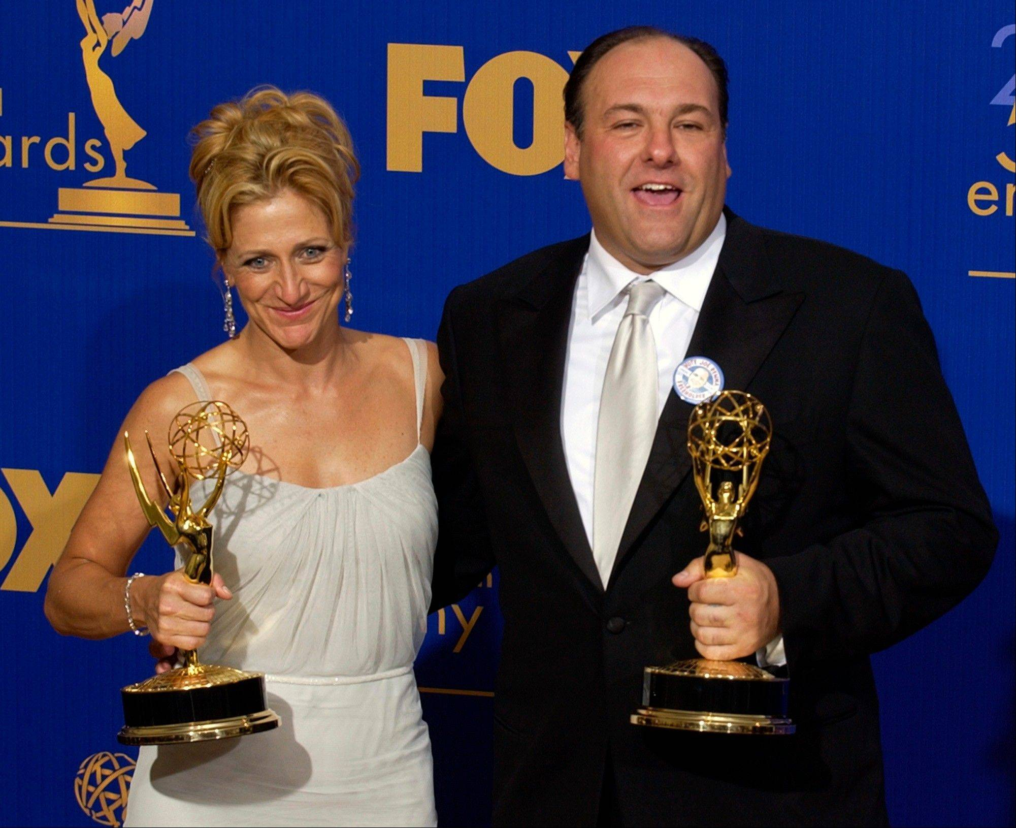 Edie Falco, left, and James Gandolfini at the 55th Annual Primetime Emmy Awards in 2003. Gandolfini died Wednesday, June 19, 2013, in Italy. He was 51.