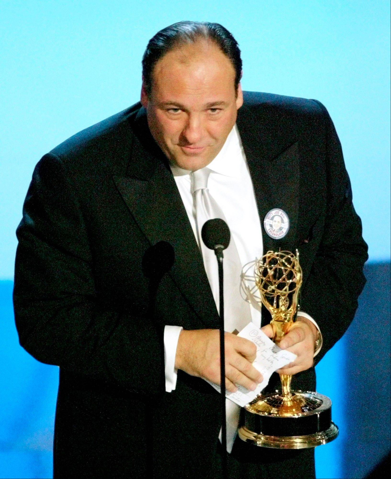"James Gandolfini accepted the award for outstanding lead actor in a drama series for his work on ""The Sopranos"" at the 55th Annual Primetime Emmy Awards in 2003."
