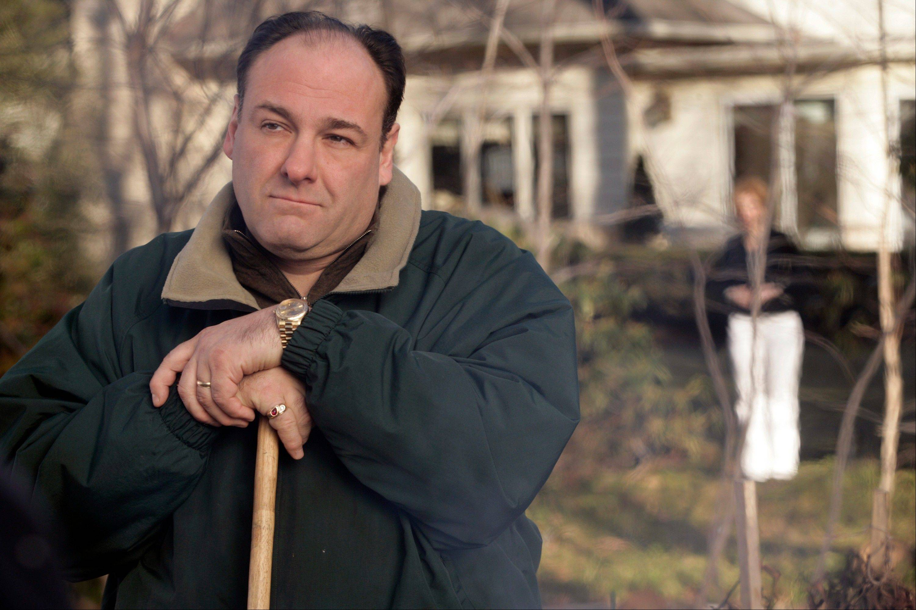 "James Gandolfini as Tony Soprano in a scene from one of the last episodes of the HBO's ""The Sopranos."""