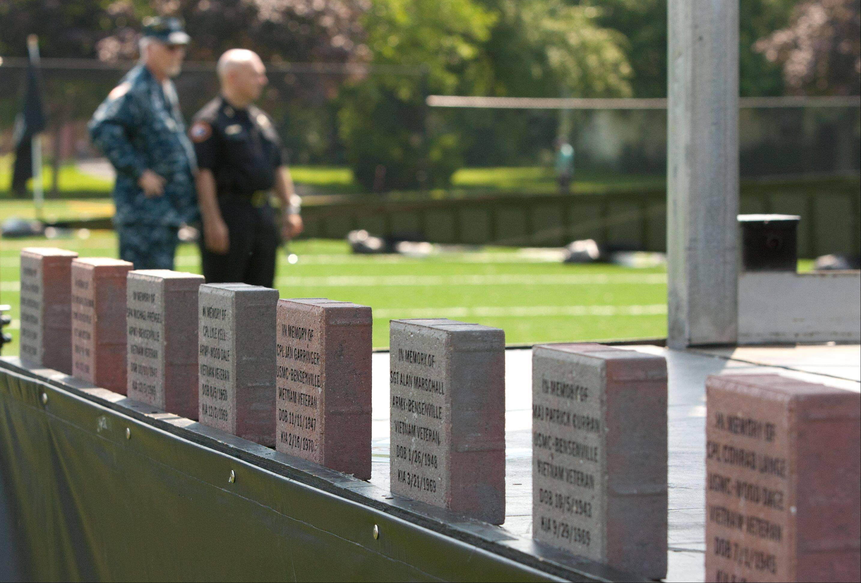 The names of former Fenton High School students killed in Vietnam are engraved in bricks that will be displayed permanently in Bensenville's Redmond Park or the village' downtown, officials said.