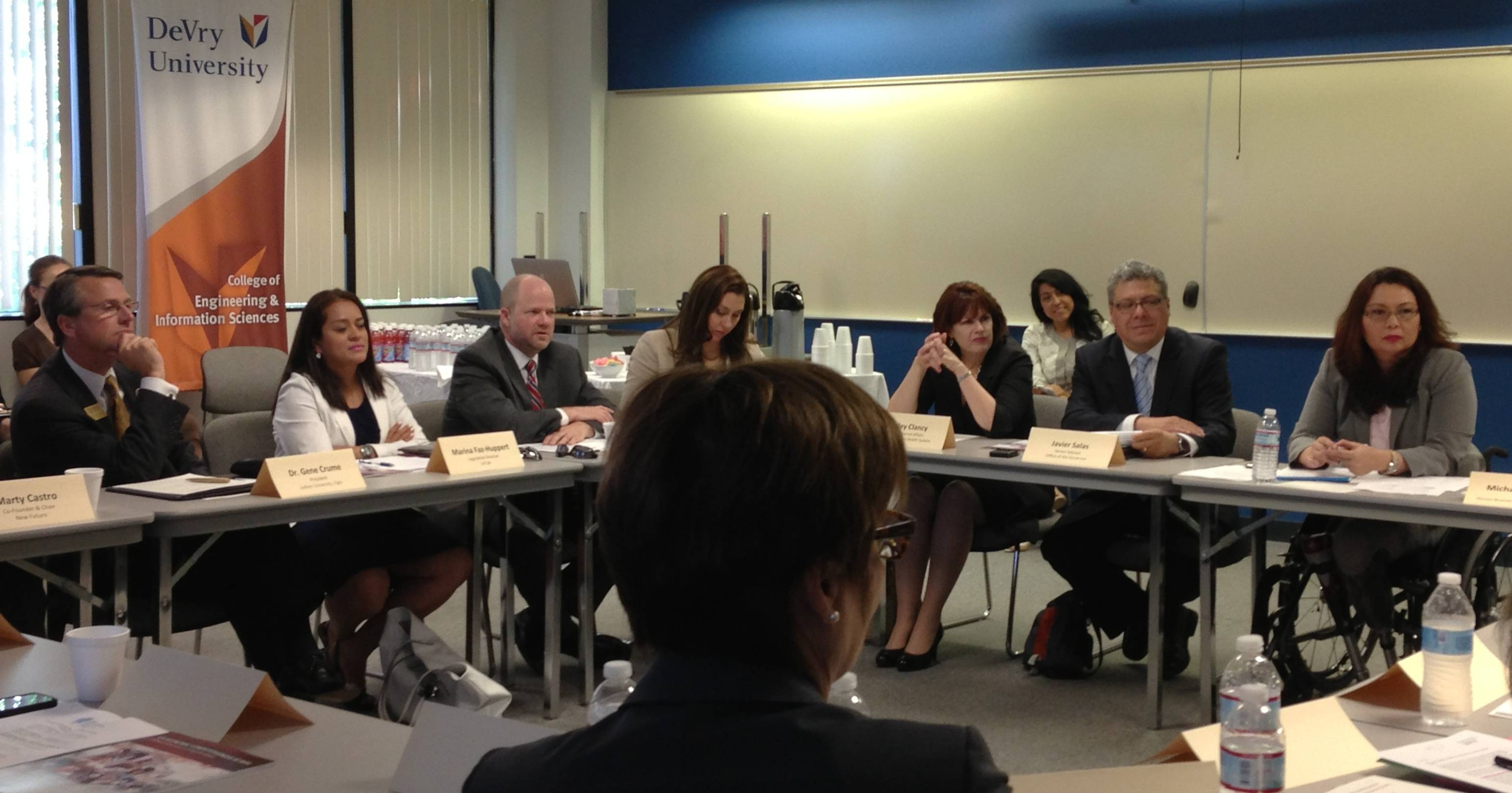 Congresswoman Tammy Duckworth meets with local business leaders and nonprofits, clergy and members of education and health care organizations to discuss immigration reform during a roundtable hosted at DeVry University-Addison.