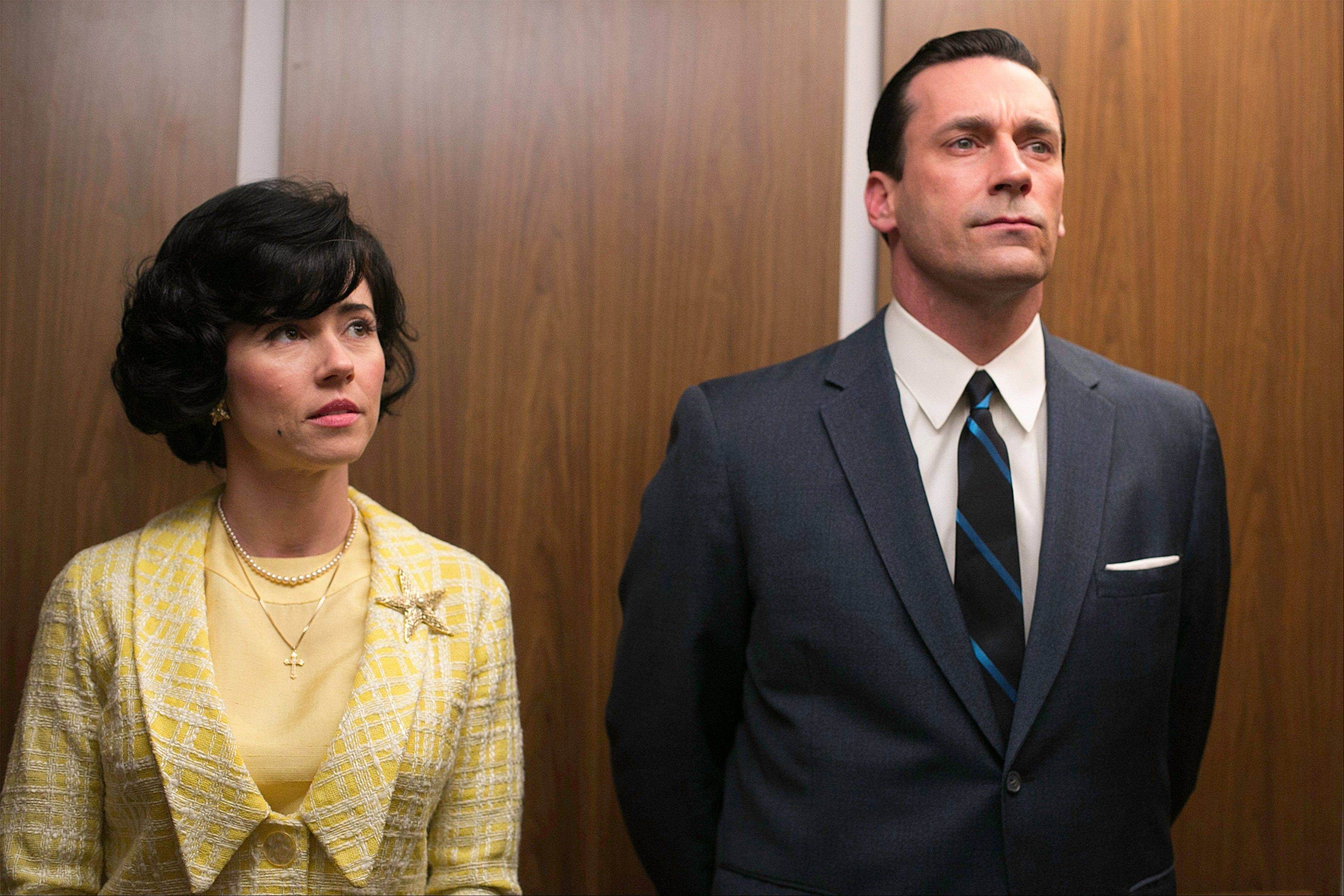 Linda Cardellini as Sylvia Rosen, left, and Jon Hamm as Don Draper in �Mad Men.�
