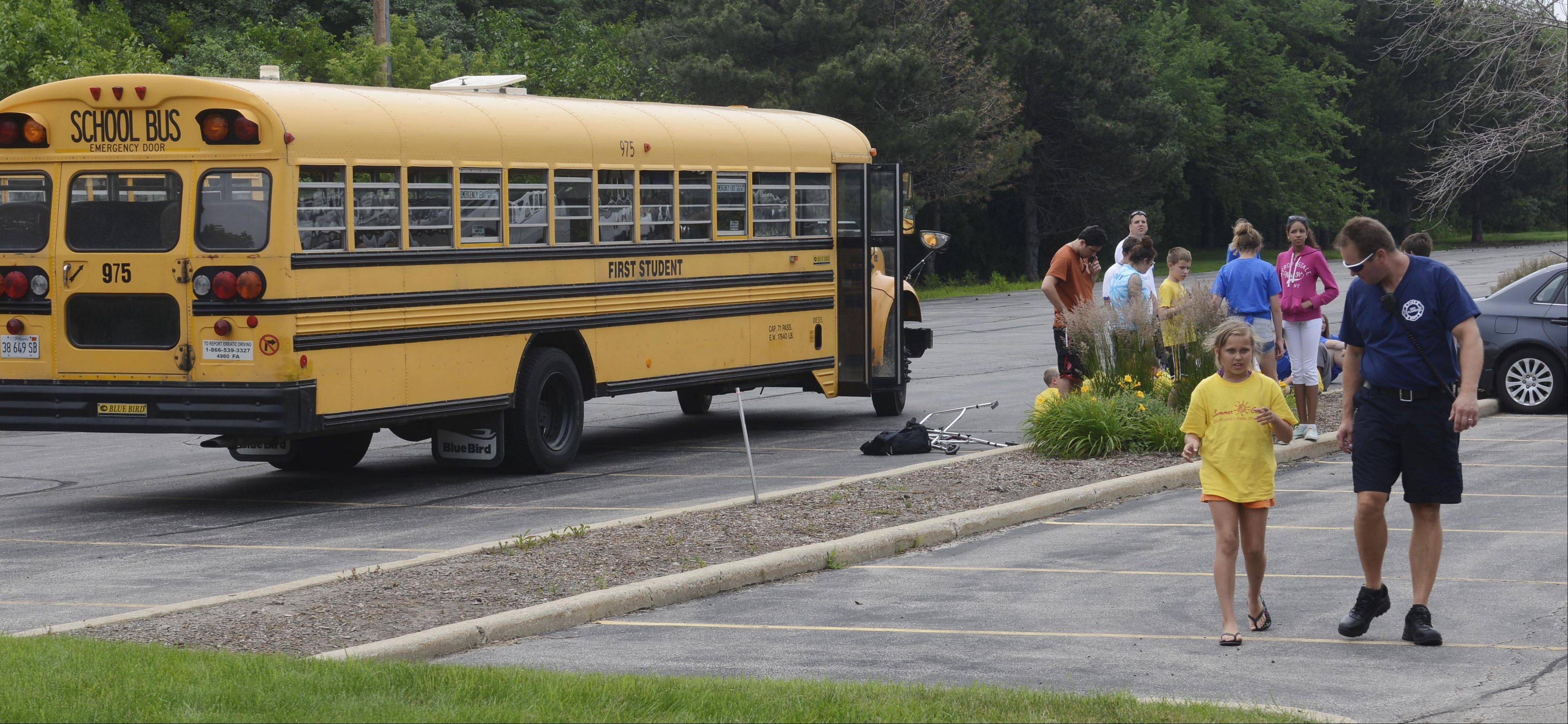 There were minor injuries following an accident Friday morning involving two school buses that were transporting children from a Des Plaines Park District program.