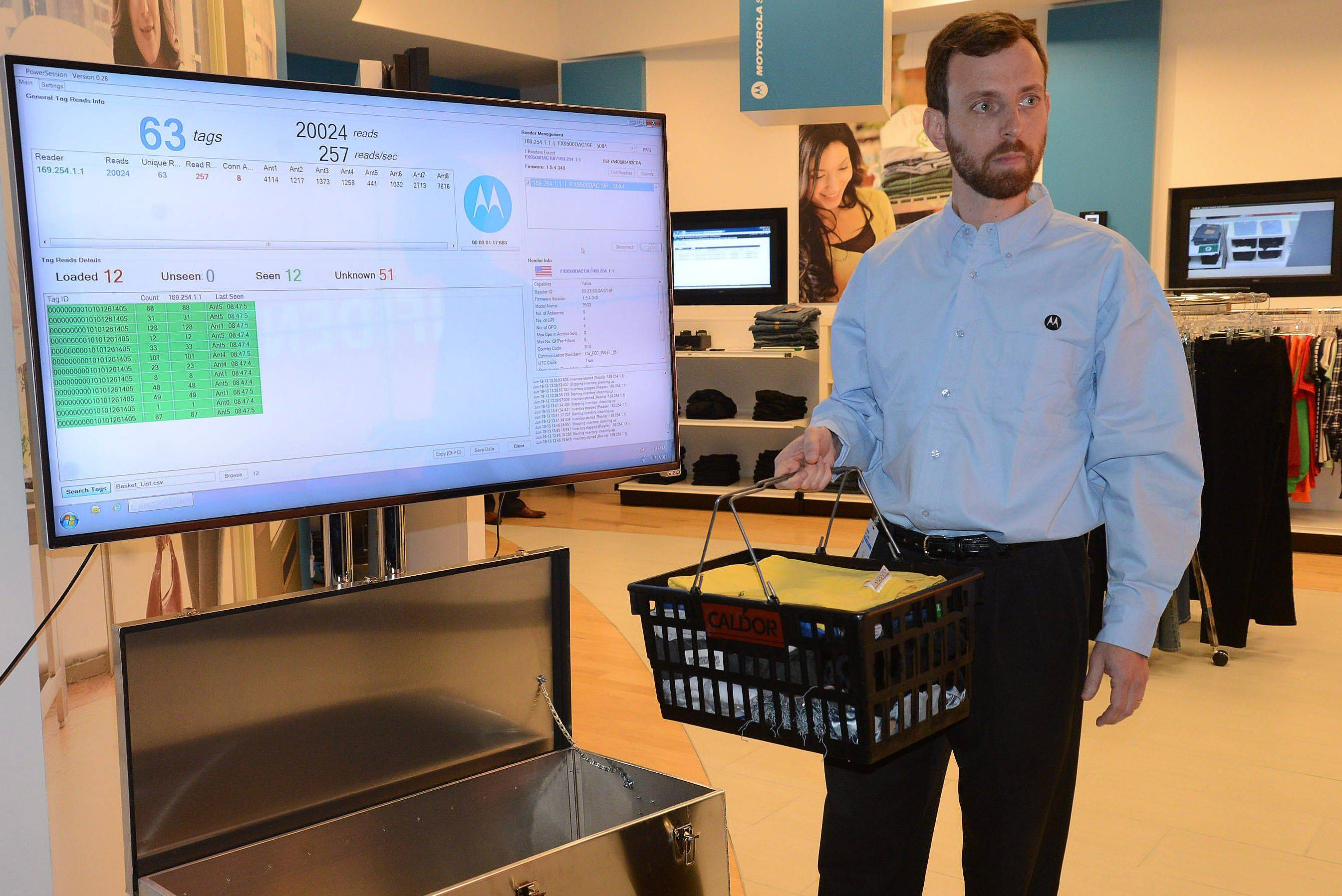 At the Motorola Solutions Innovation Showcase 2013, David Bellows demonstrates how an Overhead RFID Reader would work in a retail store as it quickly knows what's in a basket.
