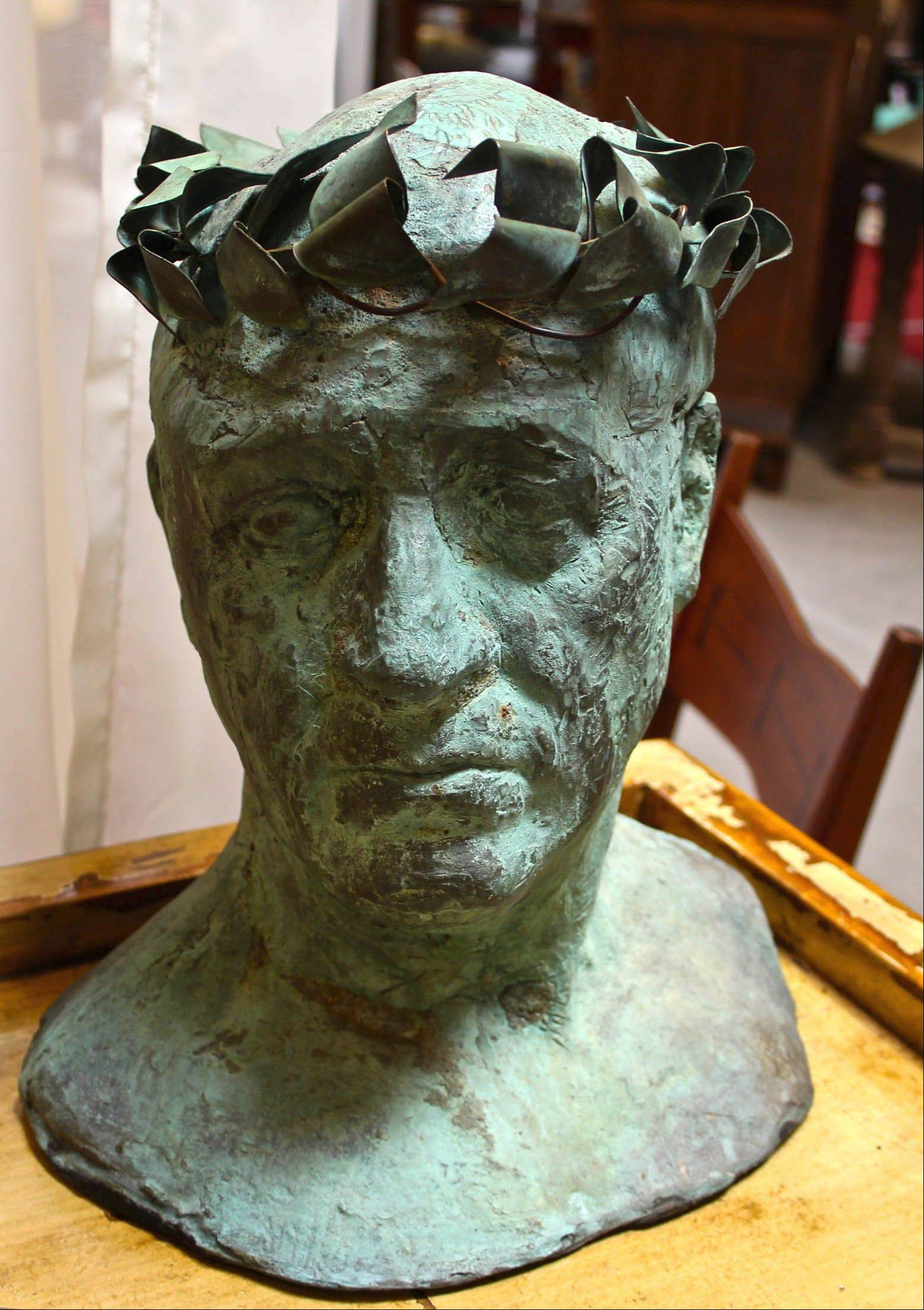 This bronze-and-copper bust is of artist Maxwell Simpson.