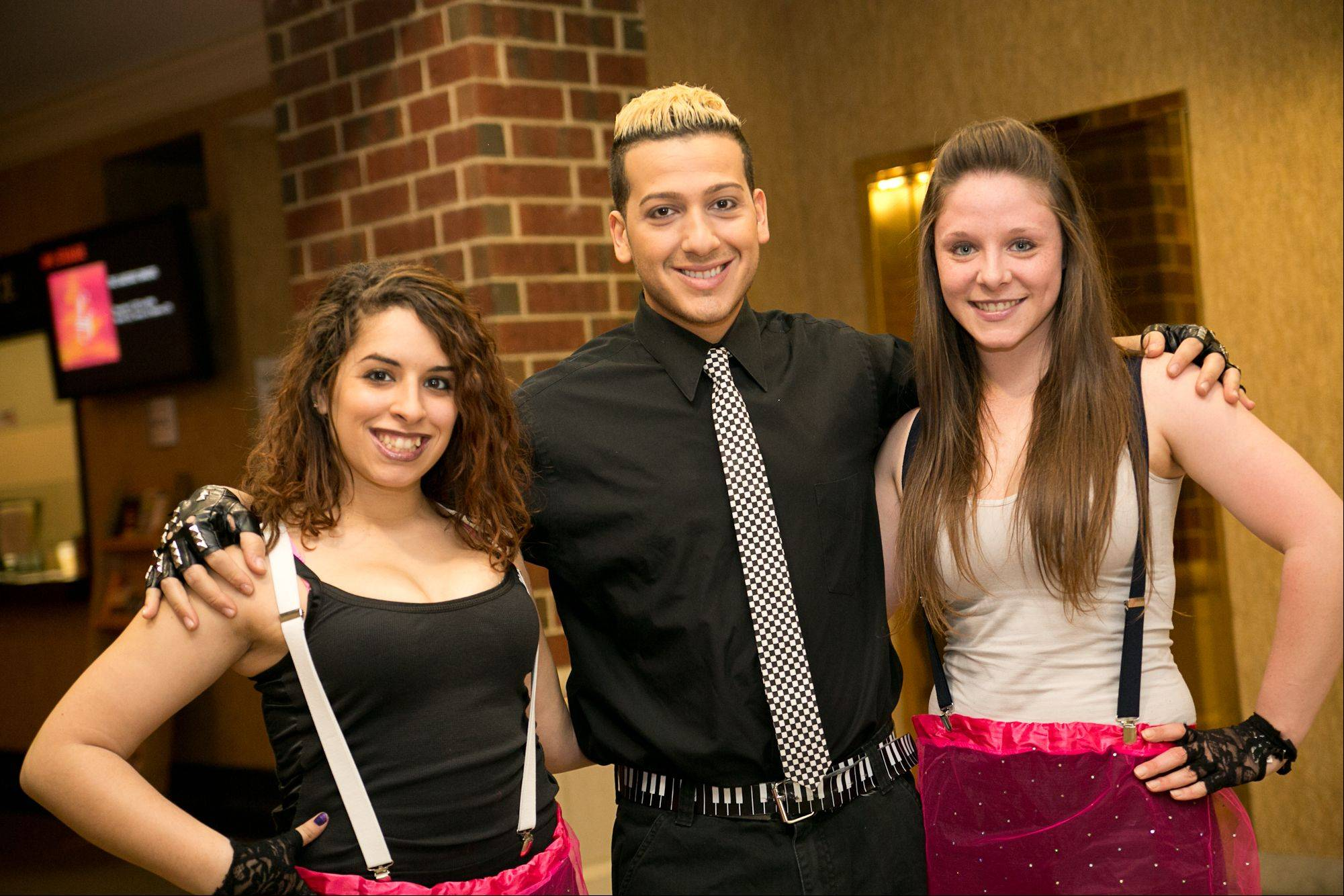 Andre Bellos, with backup dancers Alivia Tedeschi and Arielle Atar