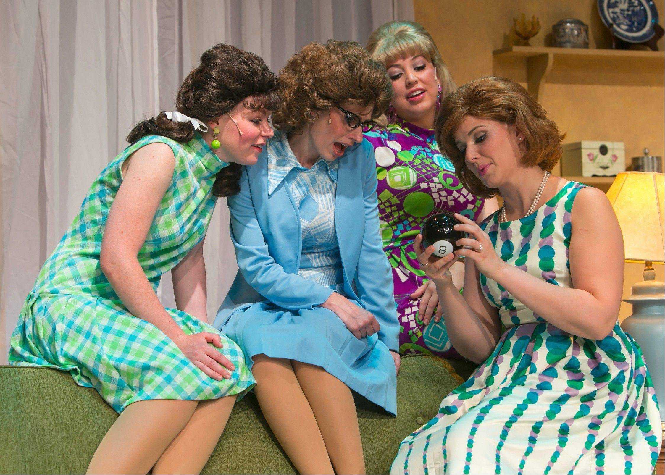 "Dee Dee (Mary-Margaret Roberts), Flo (Carrie Weis), Sally (Stephanie Herman) and Millie (Carol Rose) consult the Magic 8 Ball in Fox Valley Repertory's ""Why Do Fools Fall in Love?"""