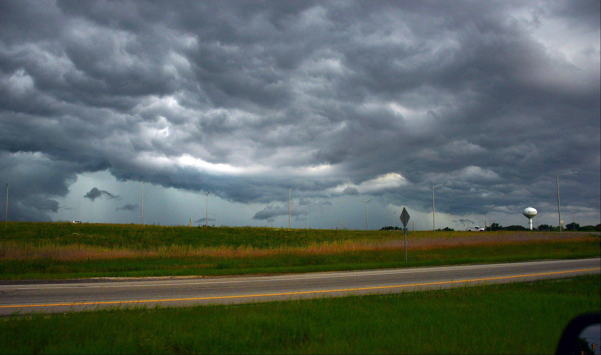 Dramatic storm clouds moving into the northwest suburbs near Palatine Friday.