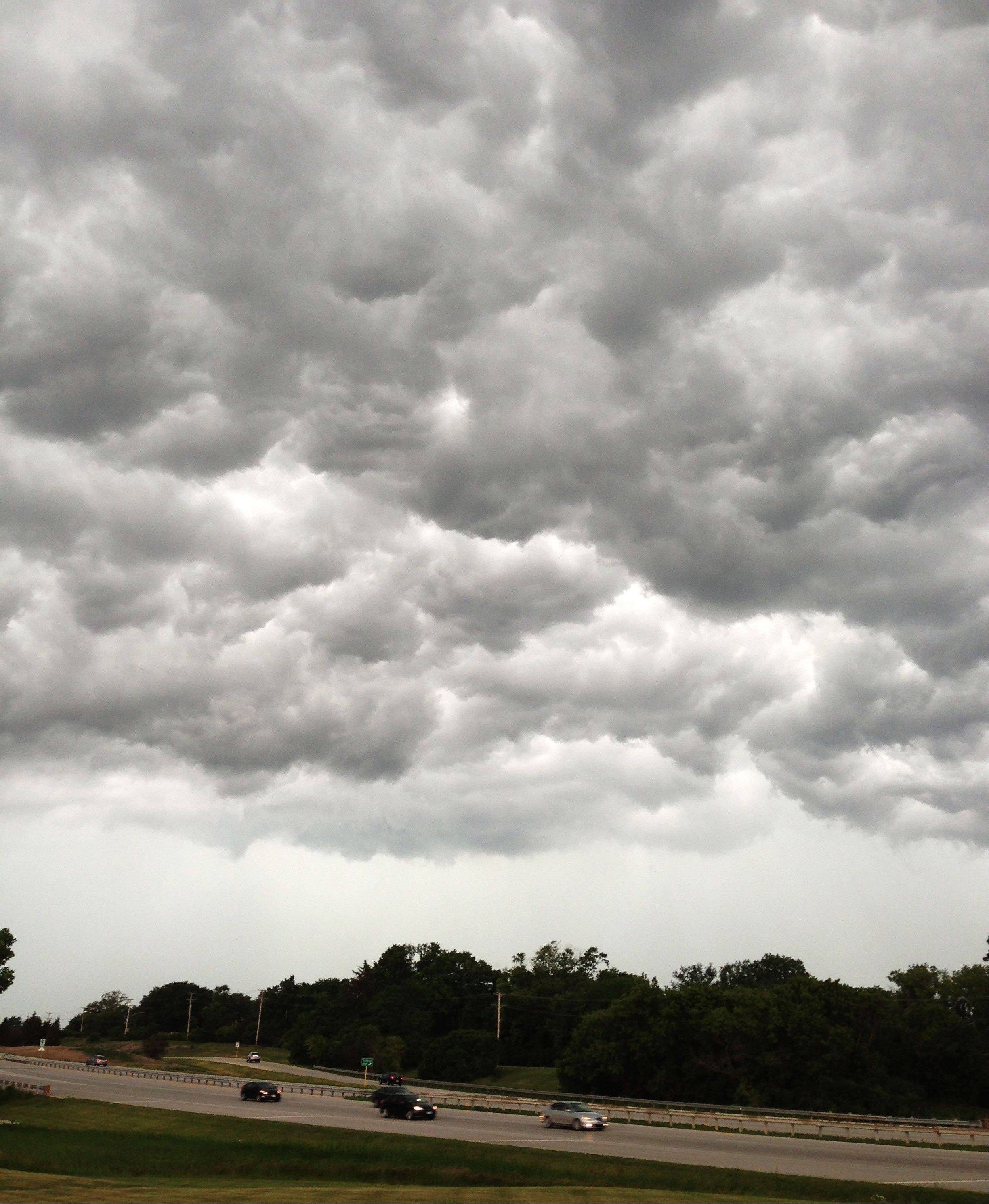 Storm clouds move in over Libertyville early Friday afternoon.