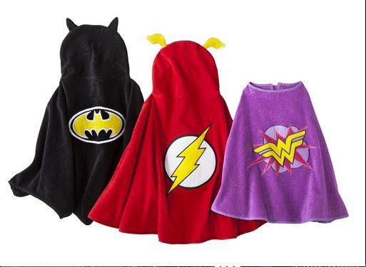 Superhero-inspired beach towel capes are a fun way for children to dry off and play at the same time this summer.