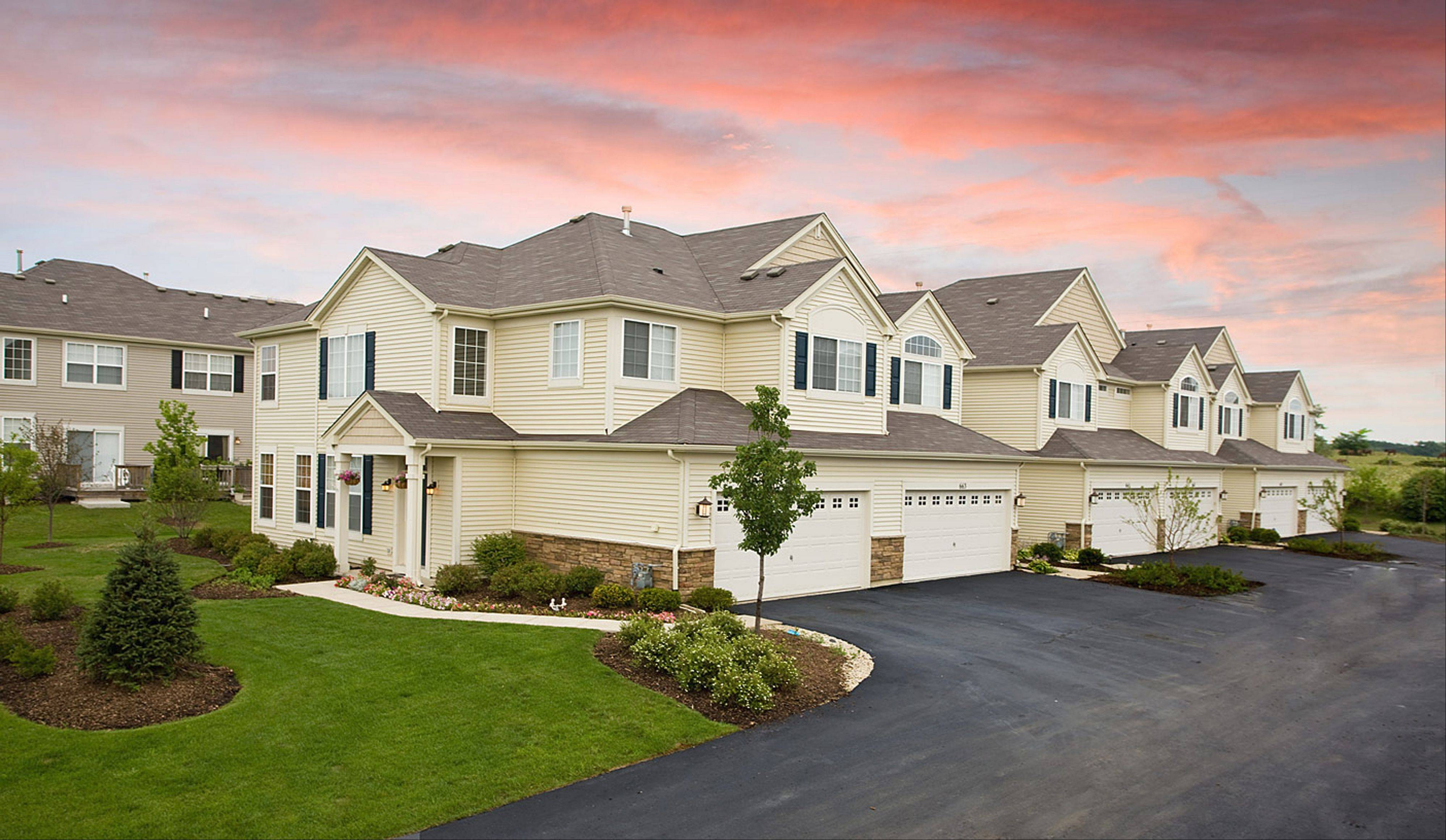 In addition to single-family houses, Ryland Homes also is constructing townhouse communities at Emerald Bay in Round Lake and Talamore in Huntley.